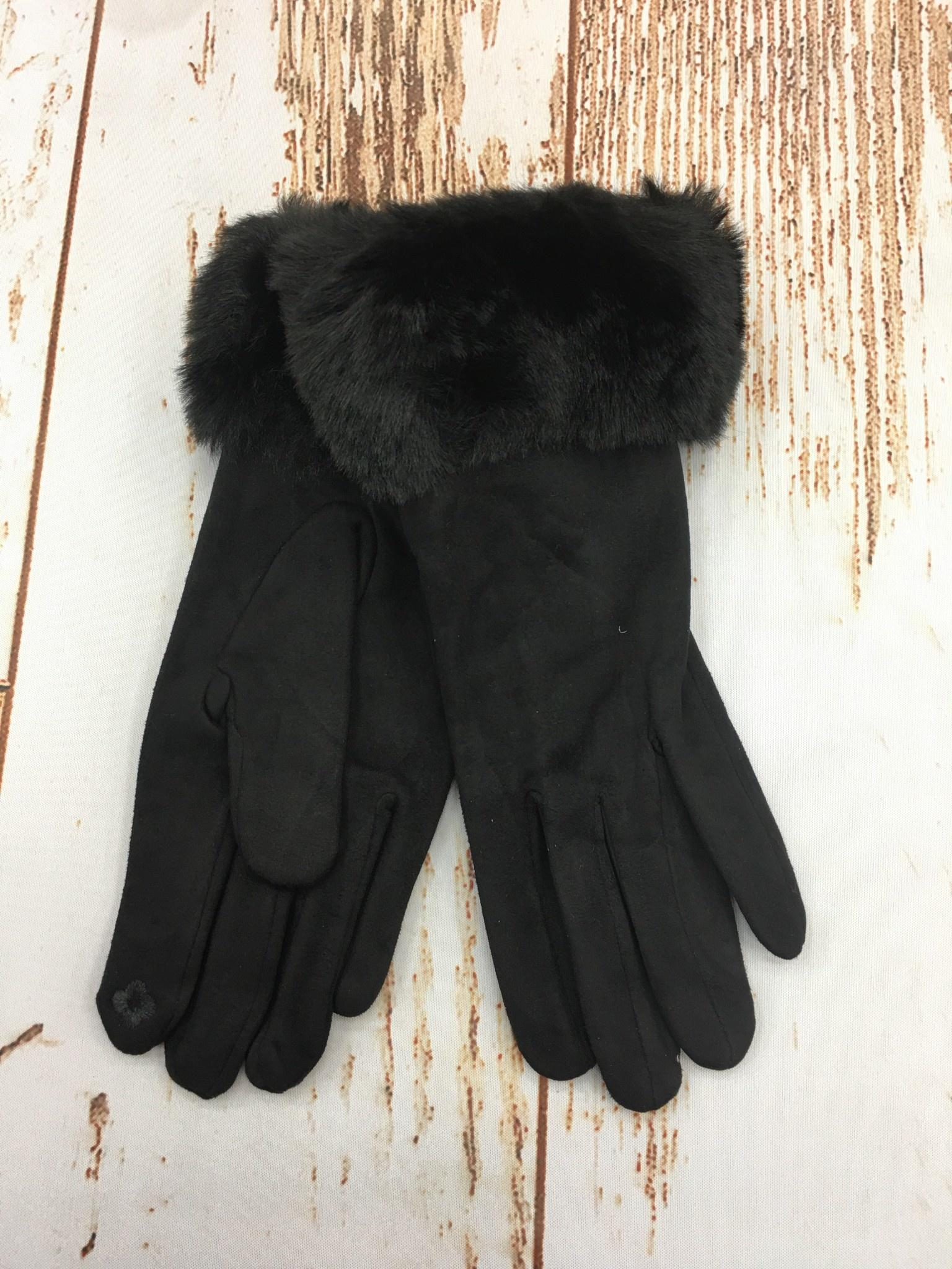 Top It Off Furry Trim Gloves in Black