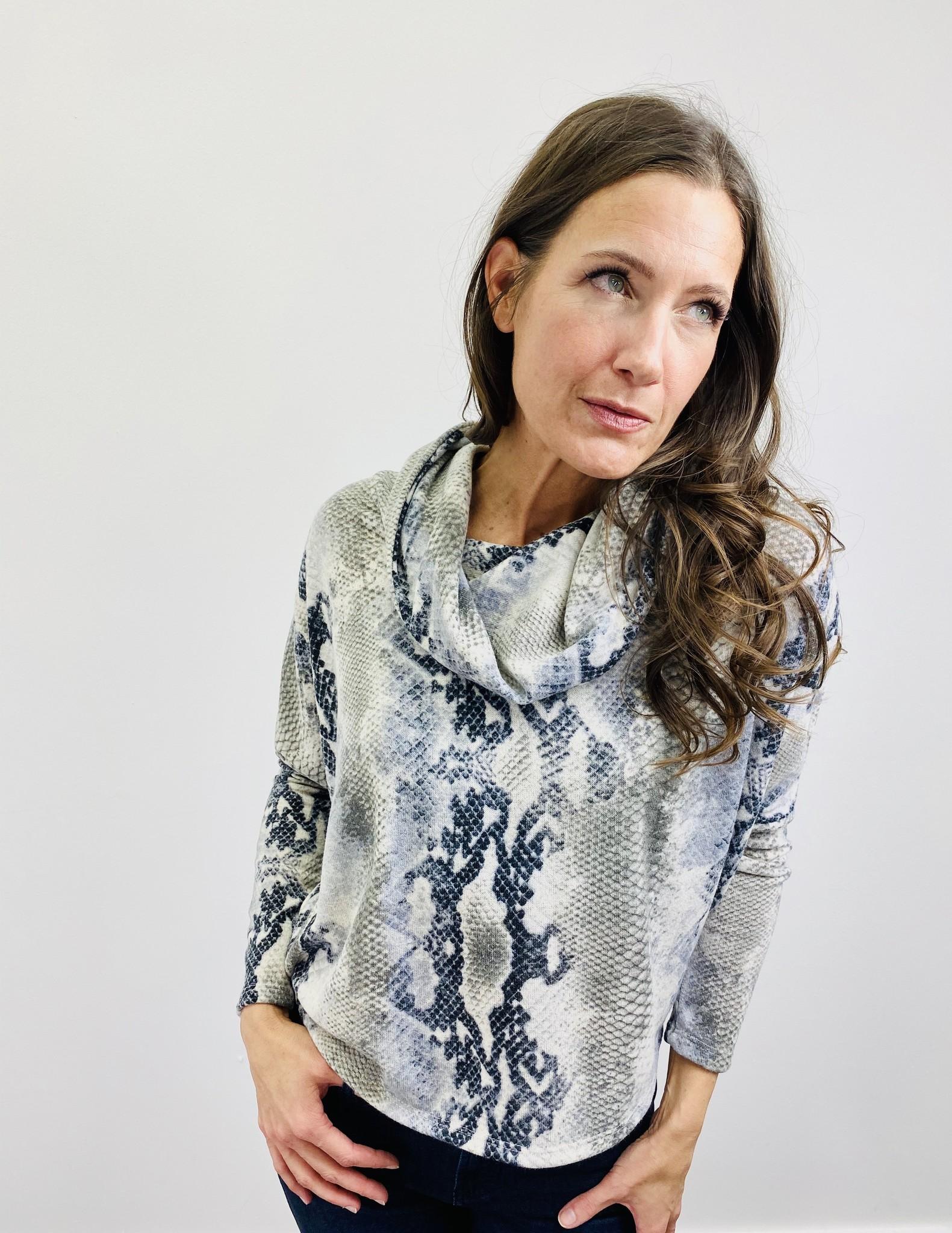Ariella Snake Print Cowl Neck w/ Lace Up