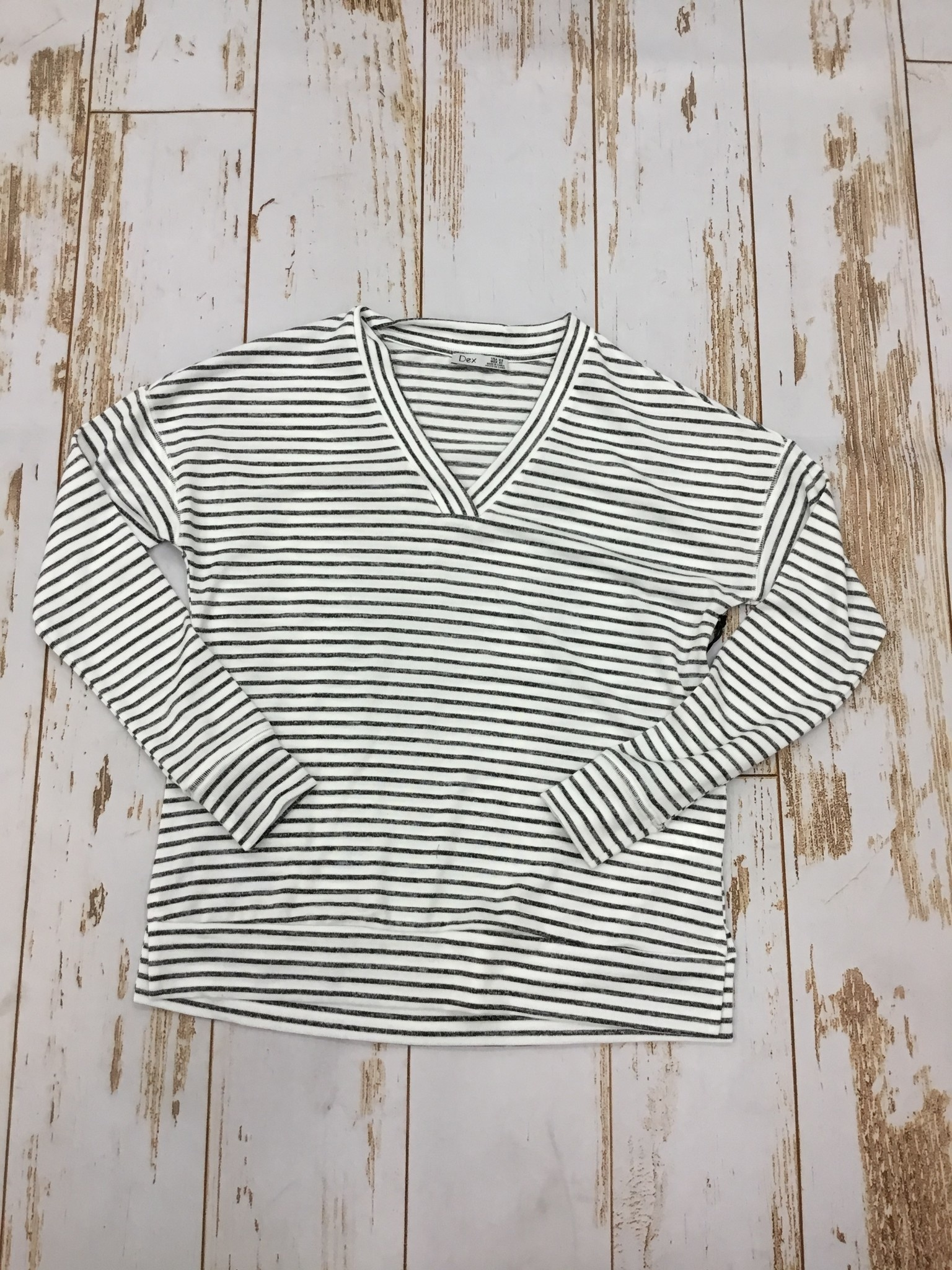 Dex Long Sleeve VNeck Striped Tee in Navy and White