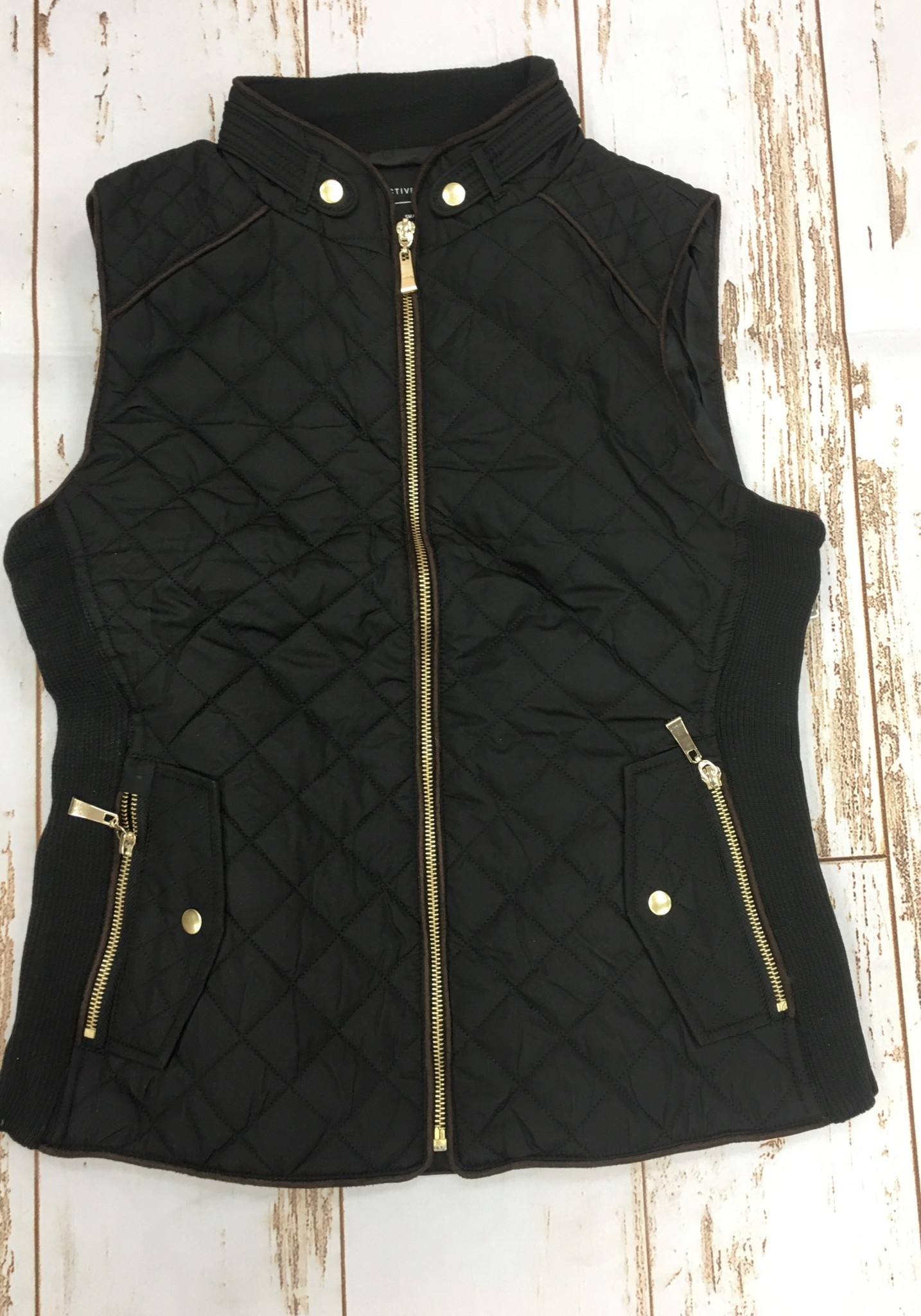 Active Basic Quilted Vest in Black