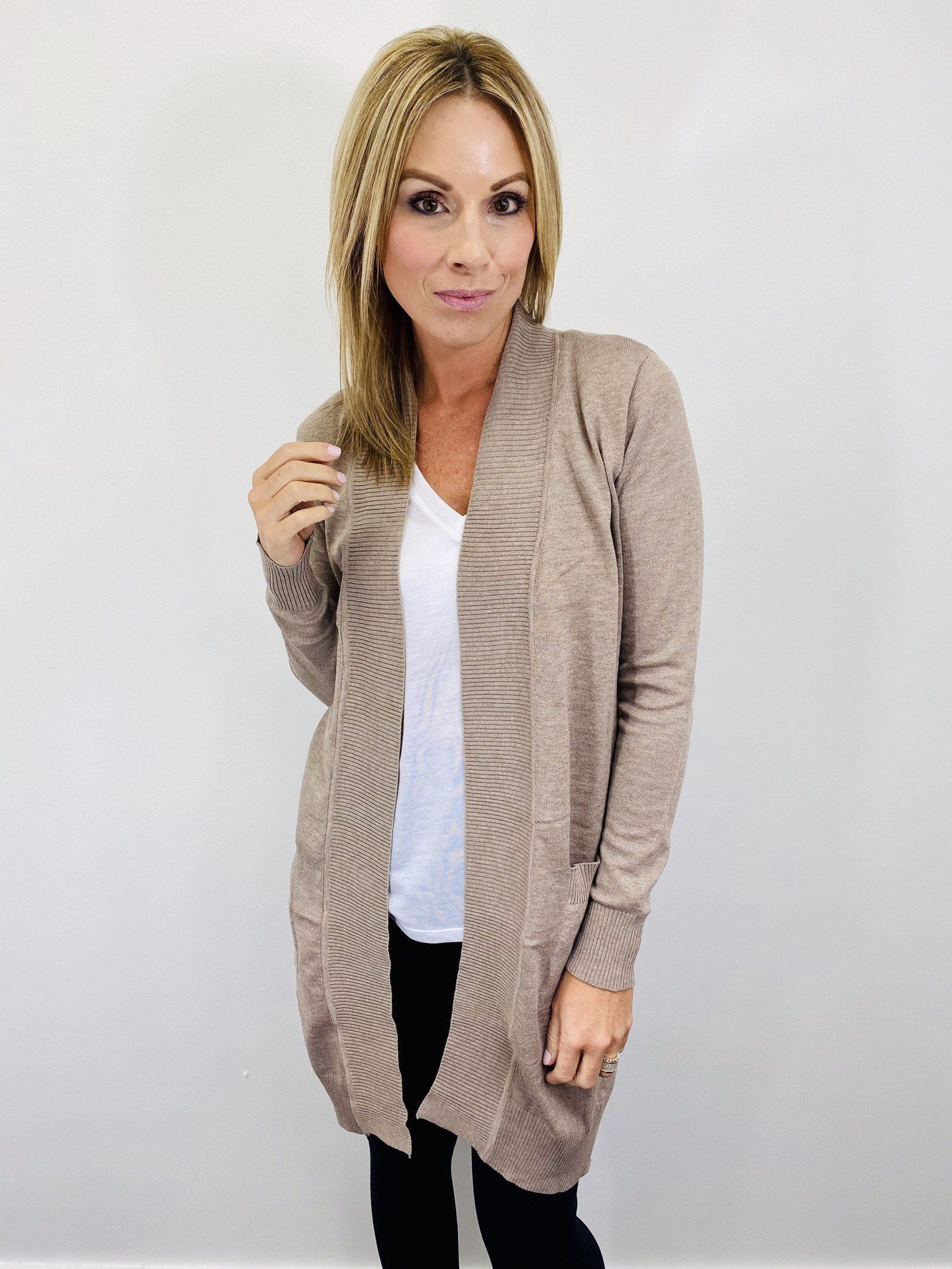 Active Basic Midweight Everyday Cardigan Heather Taupe