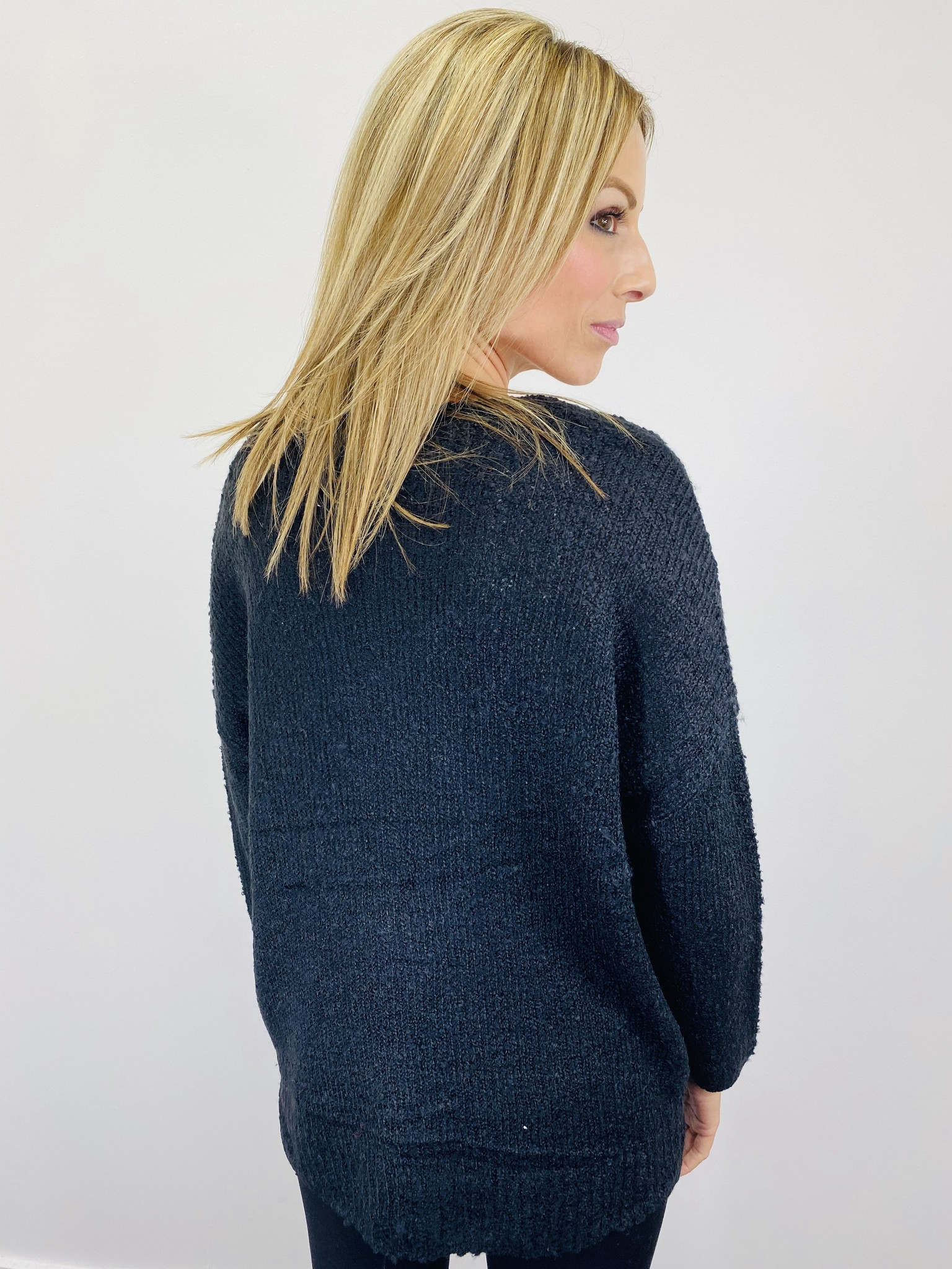 Jack by BB Dakota V That Way Slouchy Sweater in Black