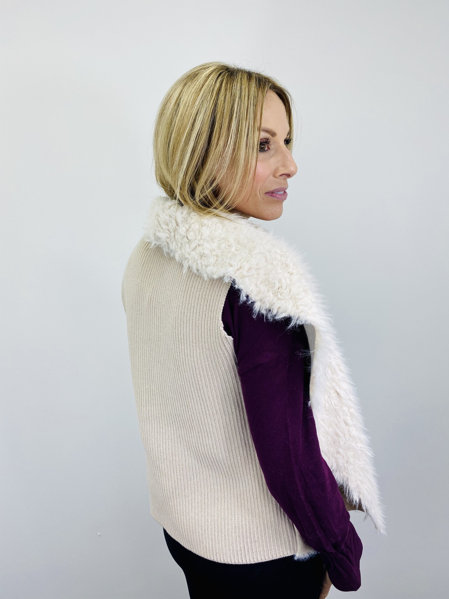 Jack by BB Dakota Suede and Faux Fur Vest in Toffee