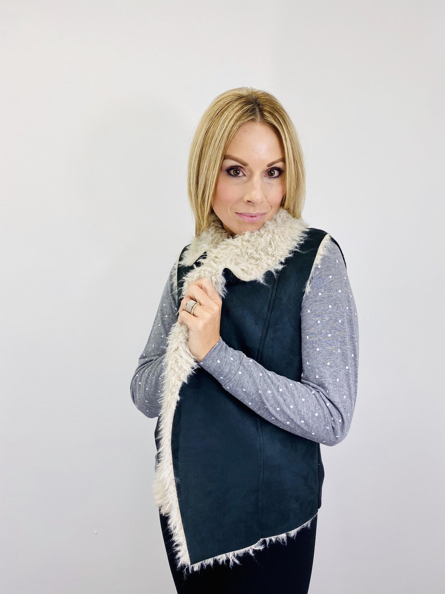 Jack by BB Dakota Suede and Faux Fur Vest in Black