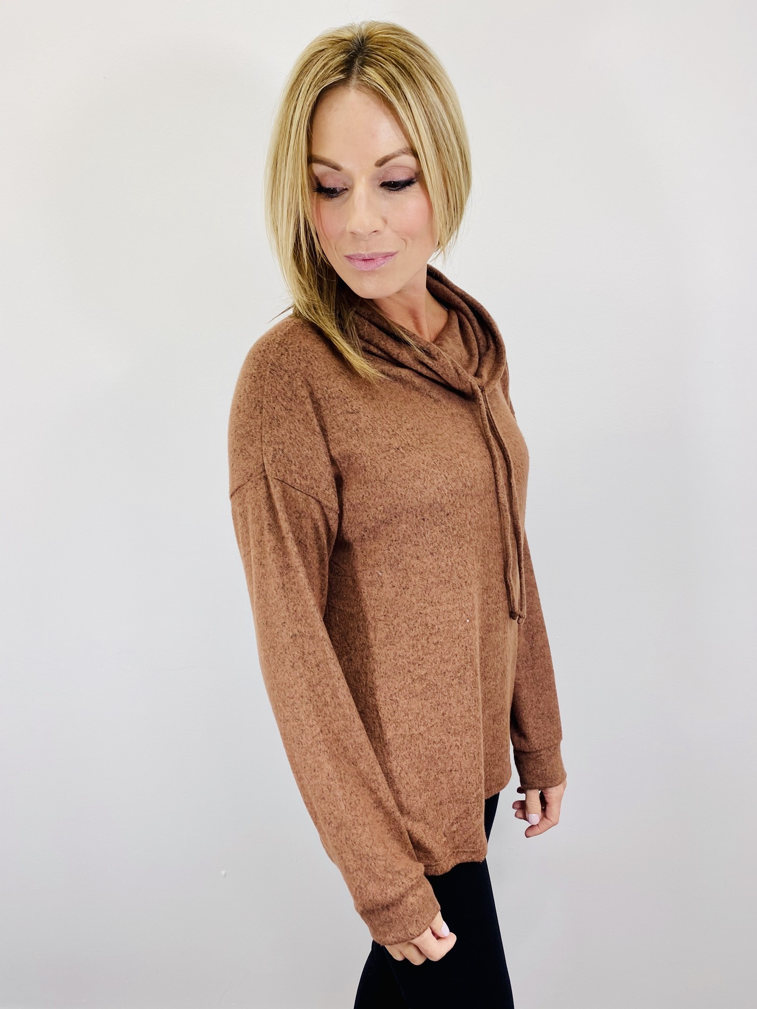 Hem & Thread Cowl Neck Knit Top in Brown