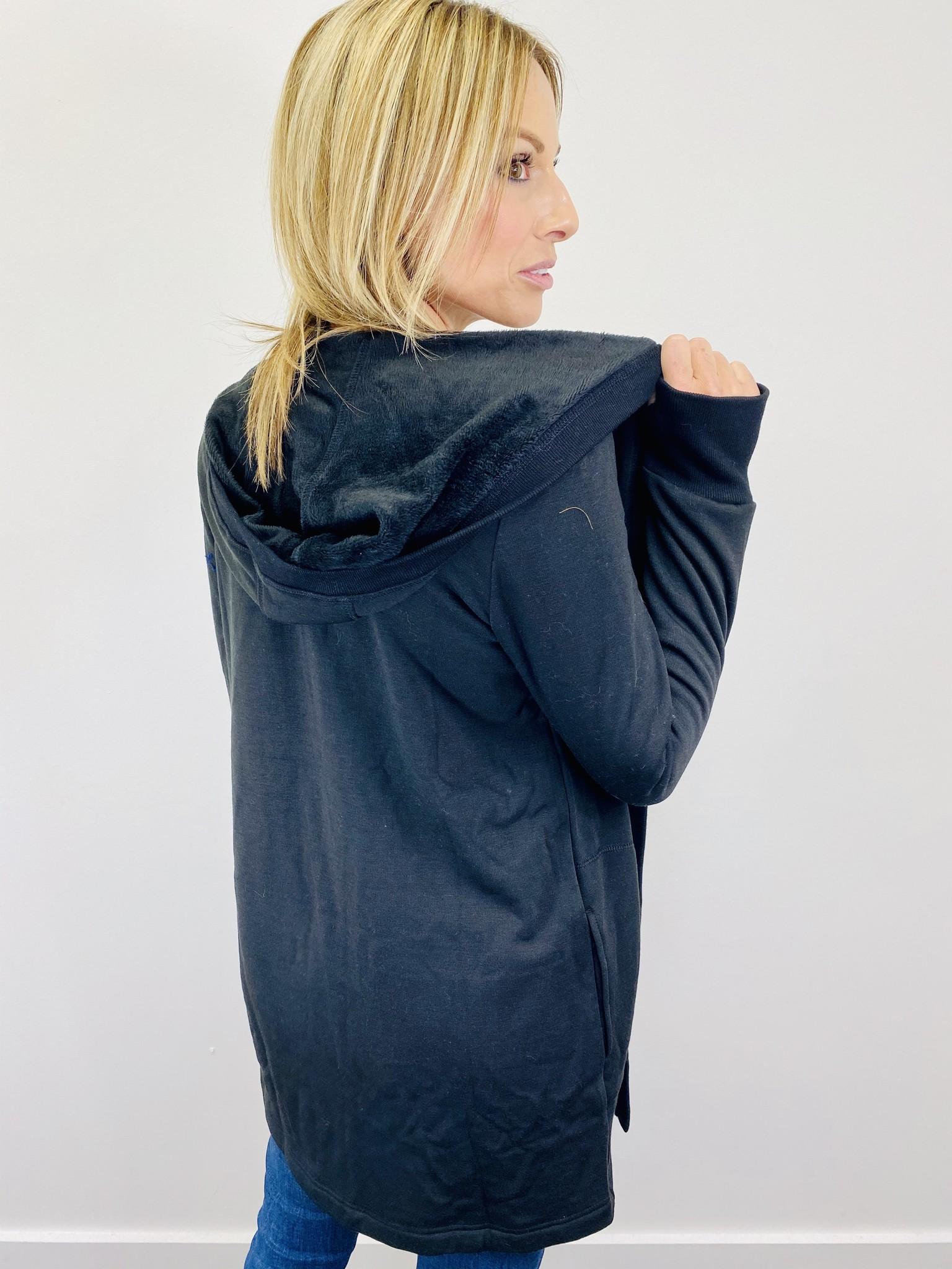 Hem & Thread Hooded Fleece Cardigan in Black