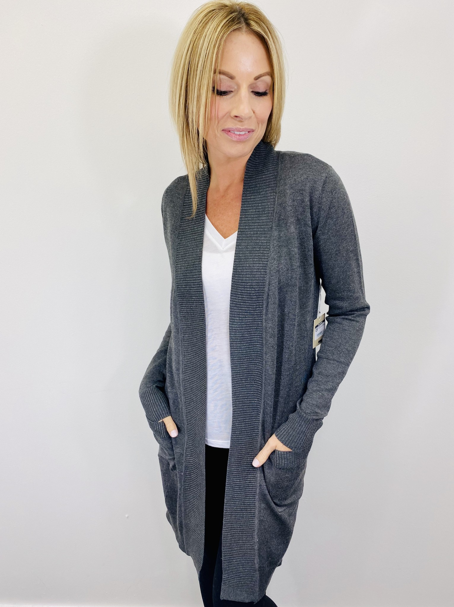 Active Basic Midweight Everyday Cardigan Charcoal