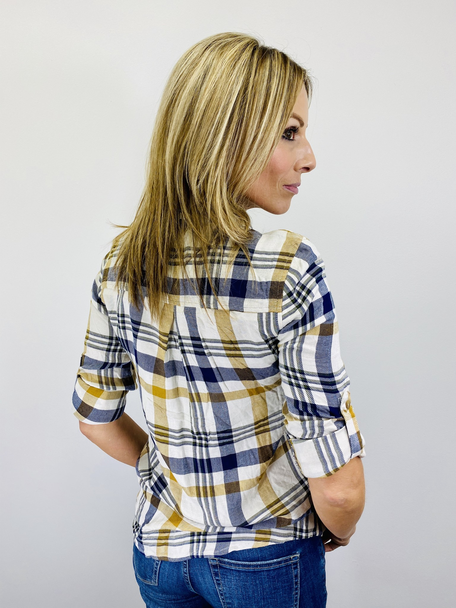 Dex Long Sleeve Button Down Plaid in Dijon and Navy
