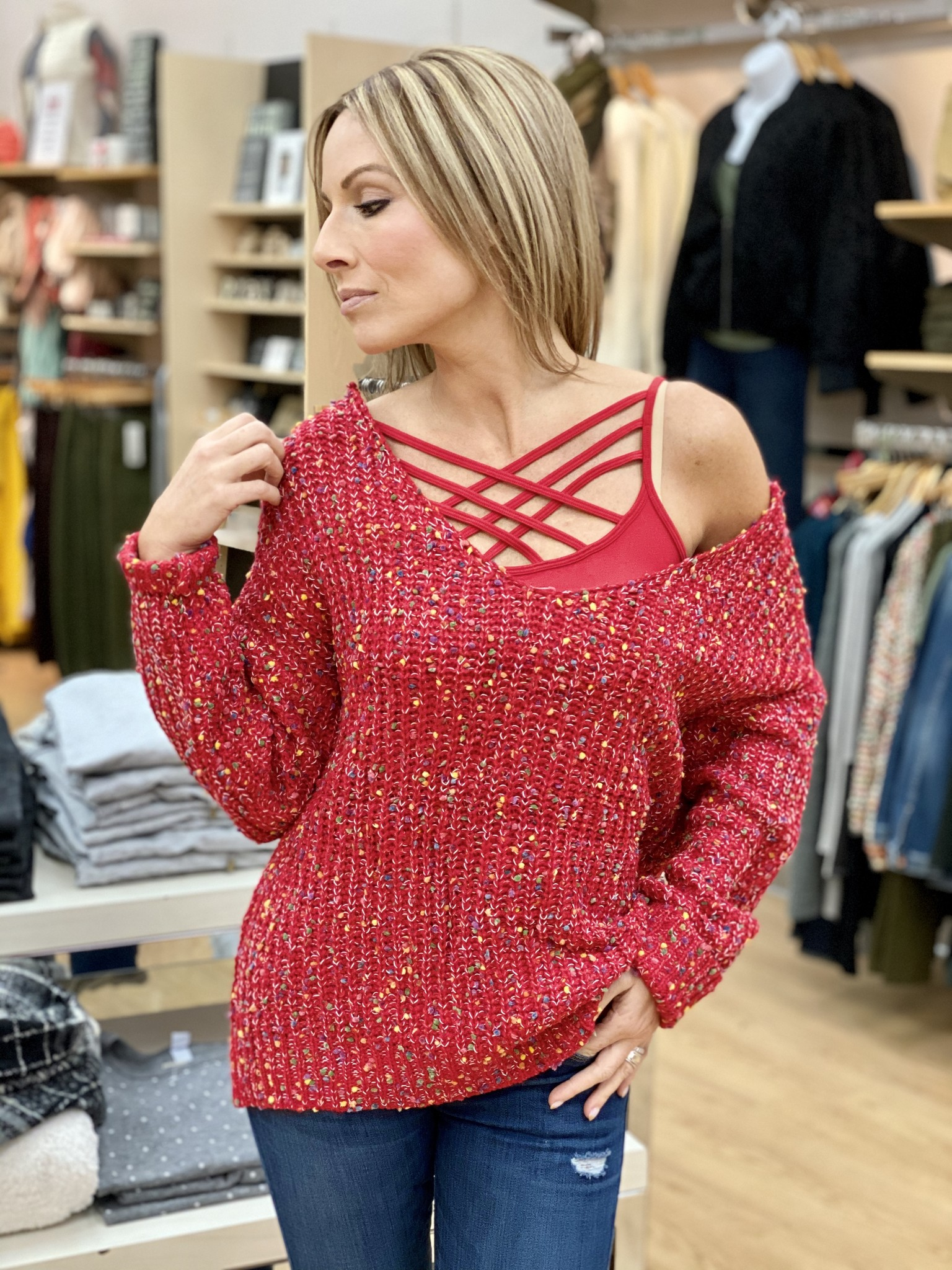 Main Strip Popcorn Sweater - Red