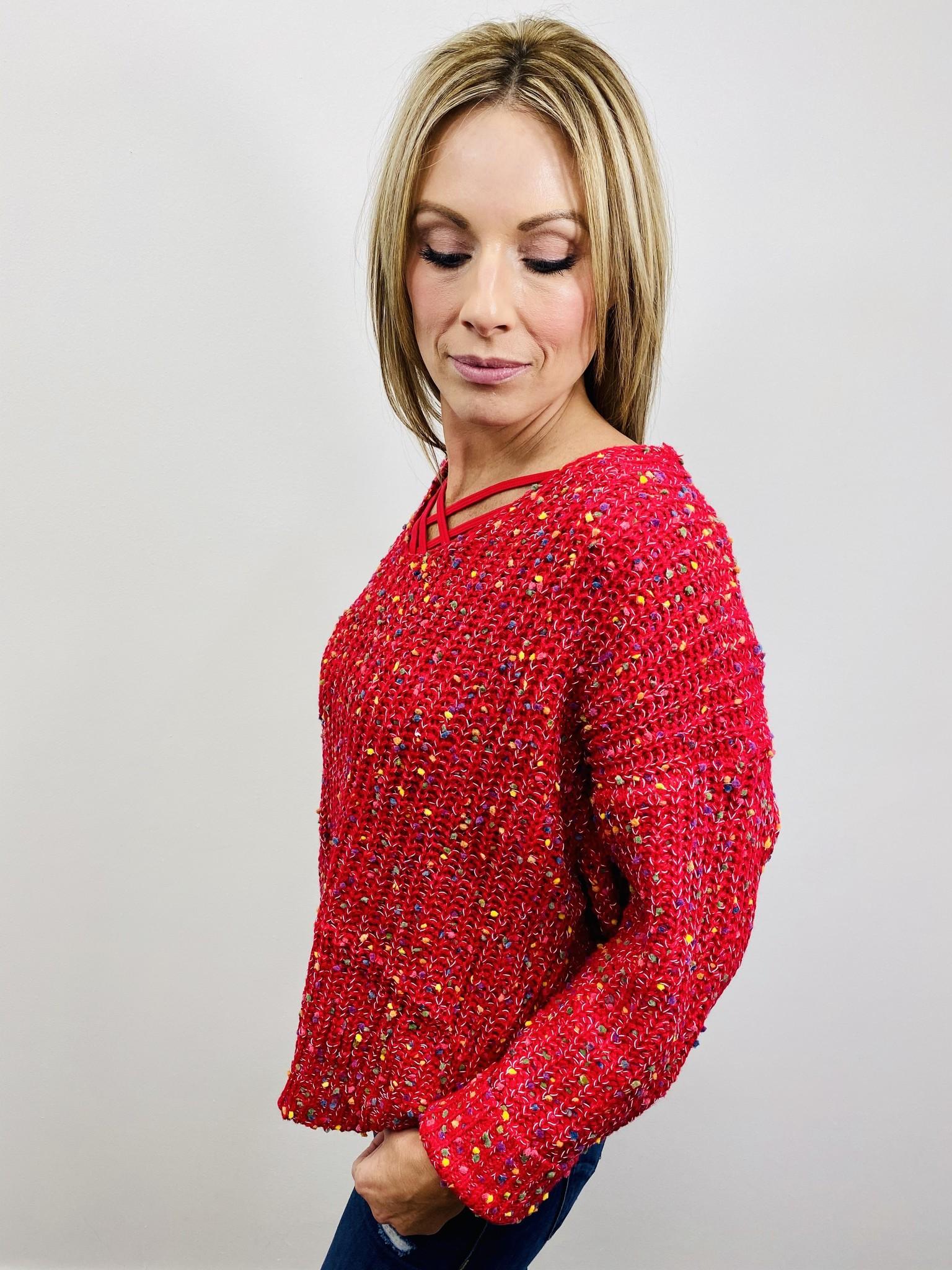 Main Strip Popcorn Sweater - Red