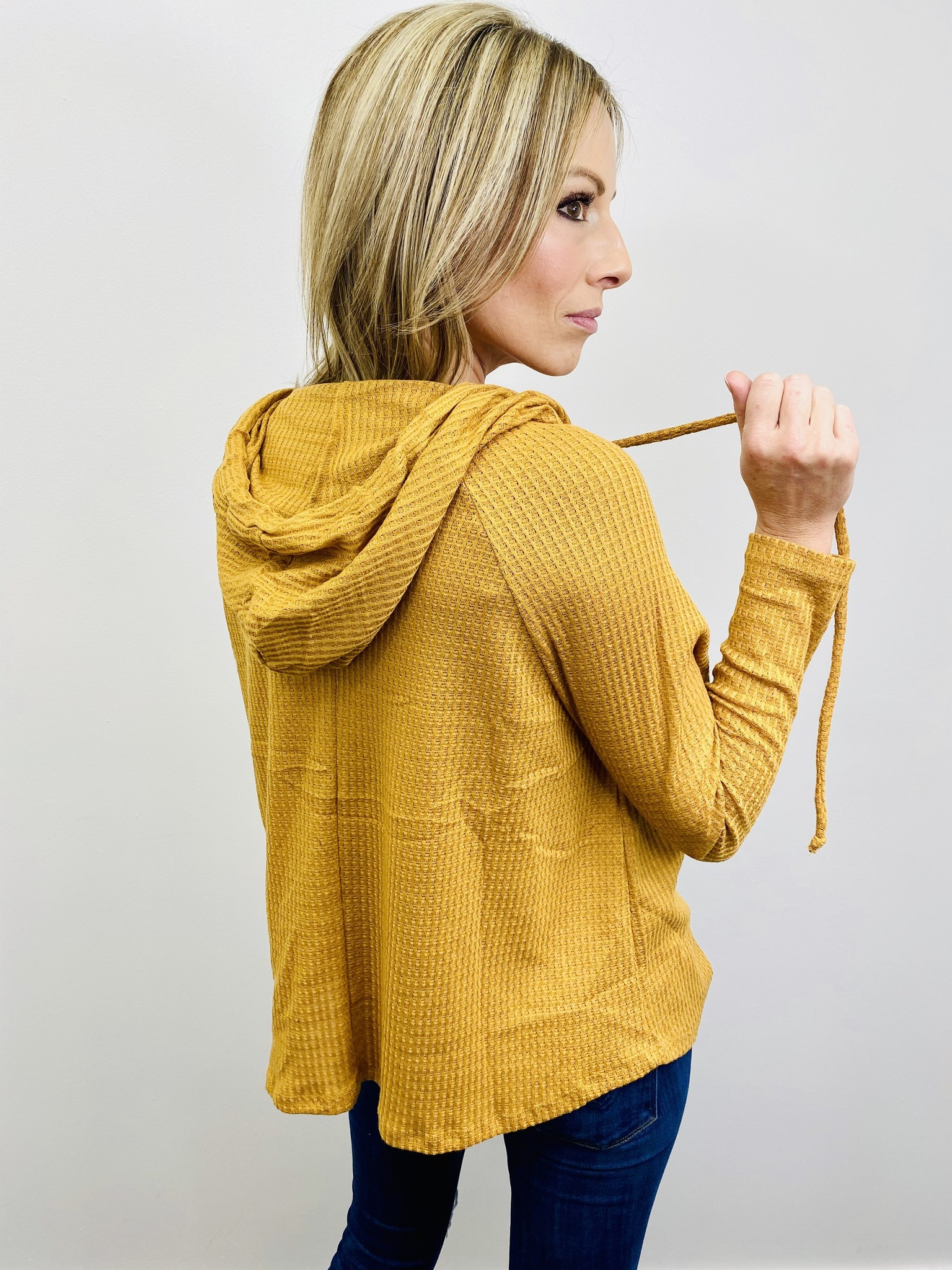 Active Basic Waffle Knit Top in Mustard