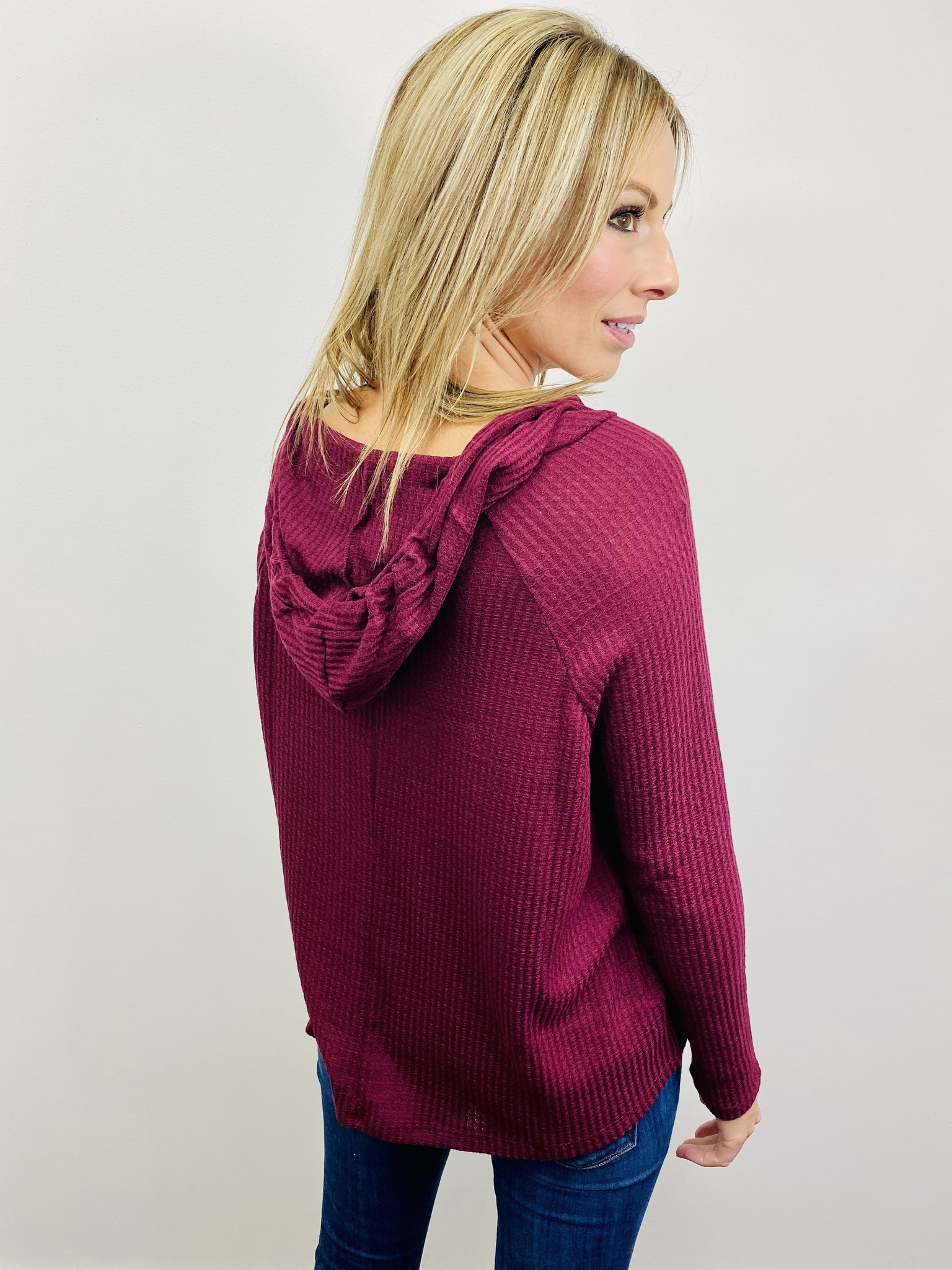 Active Basic Waffle Knit Top Burgundy