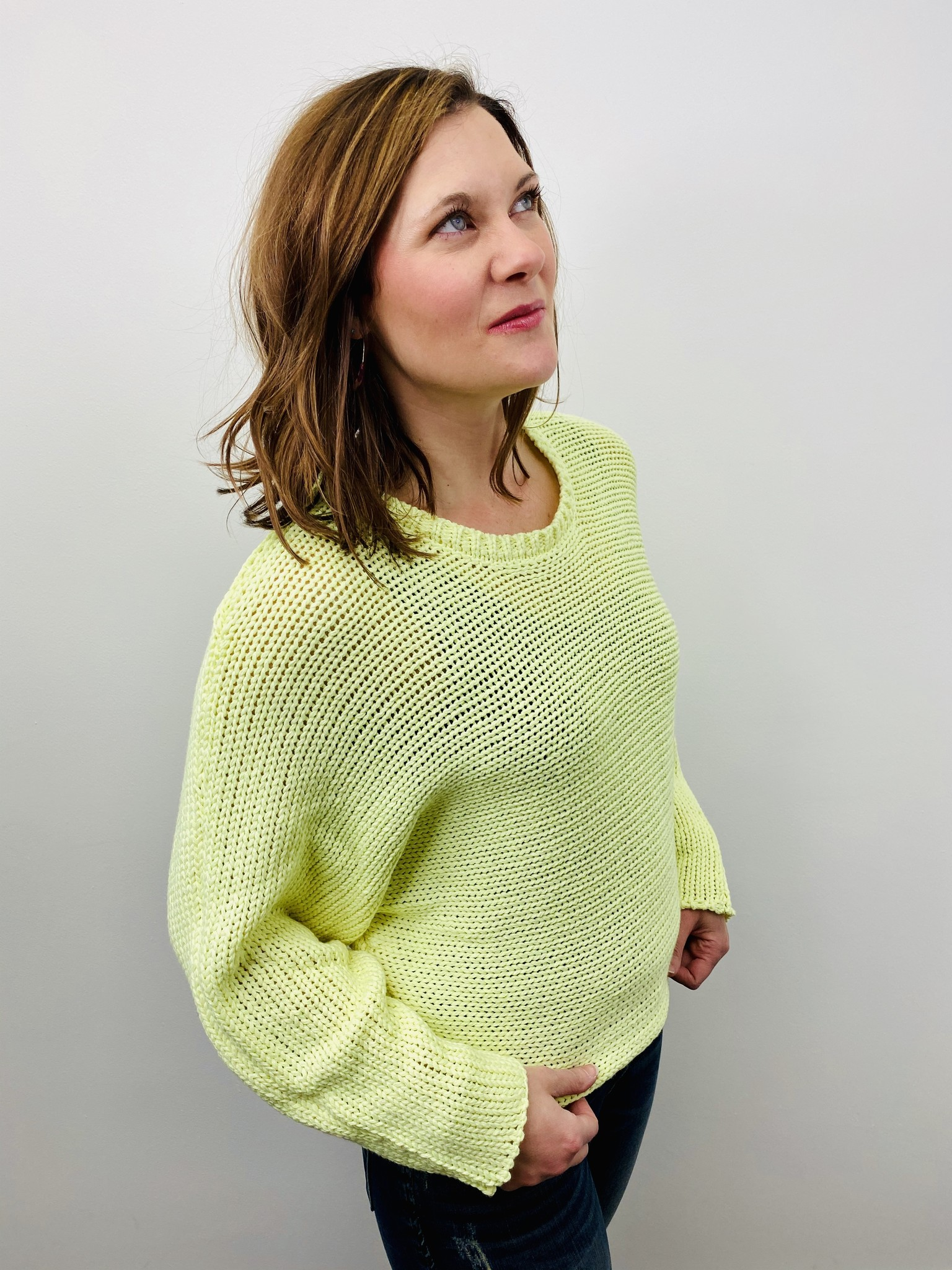 Rag Poets Neon Yellow Big Stitch Sweater