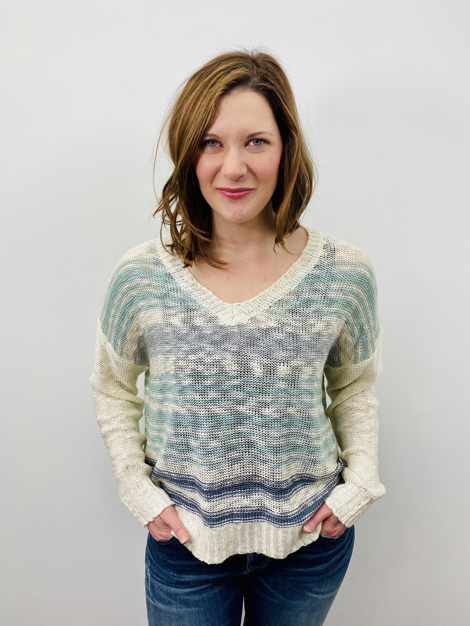 Rag Poets Watercolor Stripe Knit Sweater