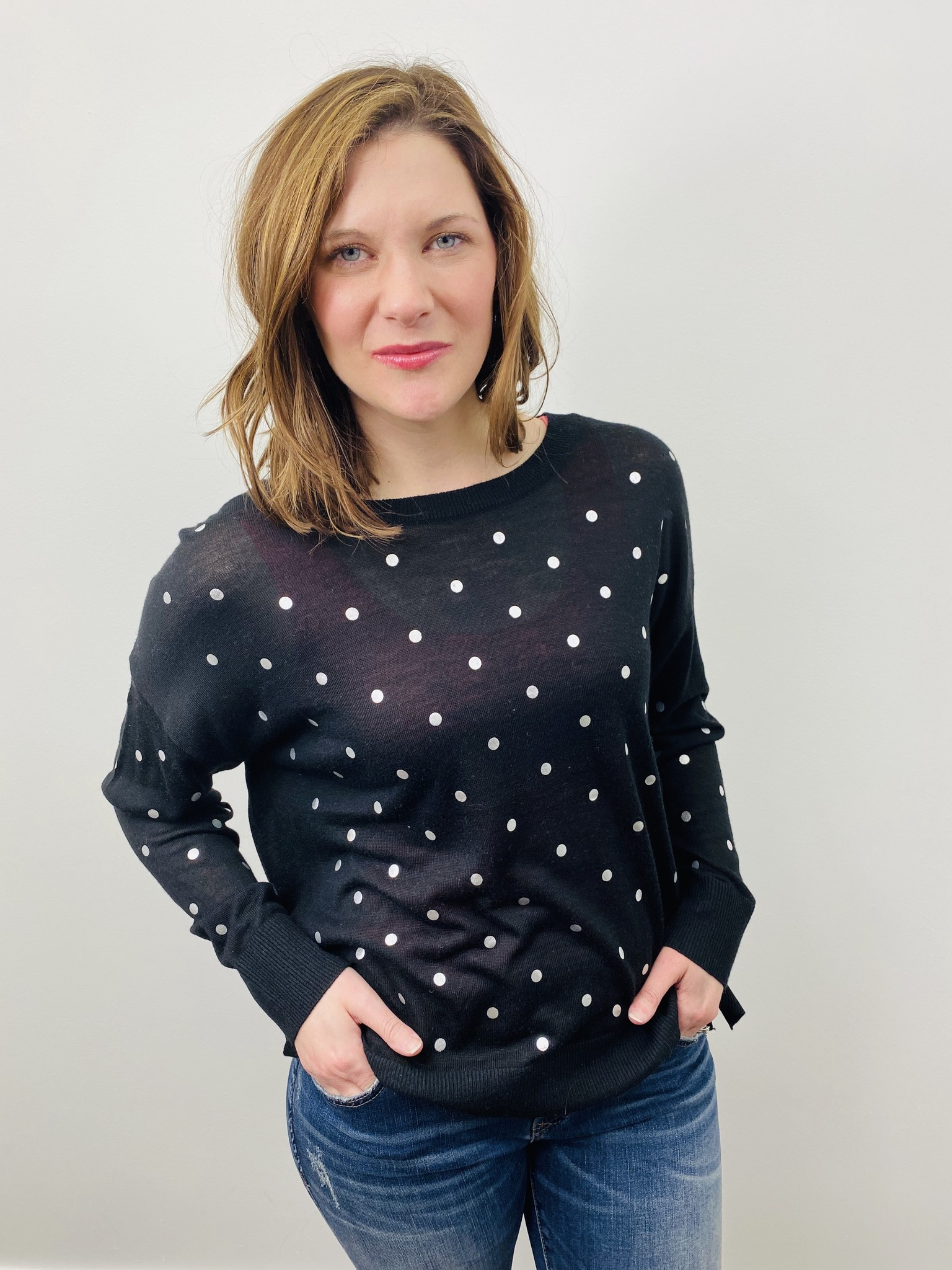 Dex Crew Neck Polka Dot Sweater in Black and Silver