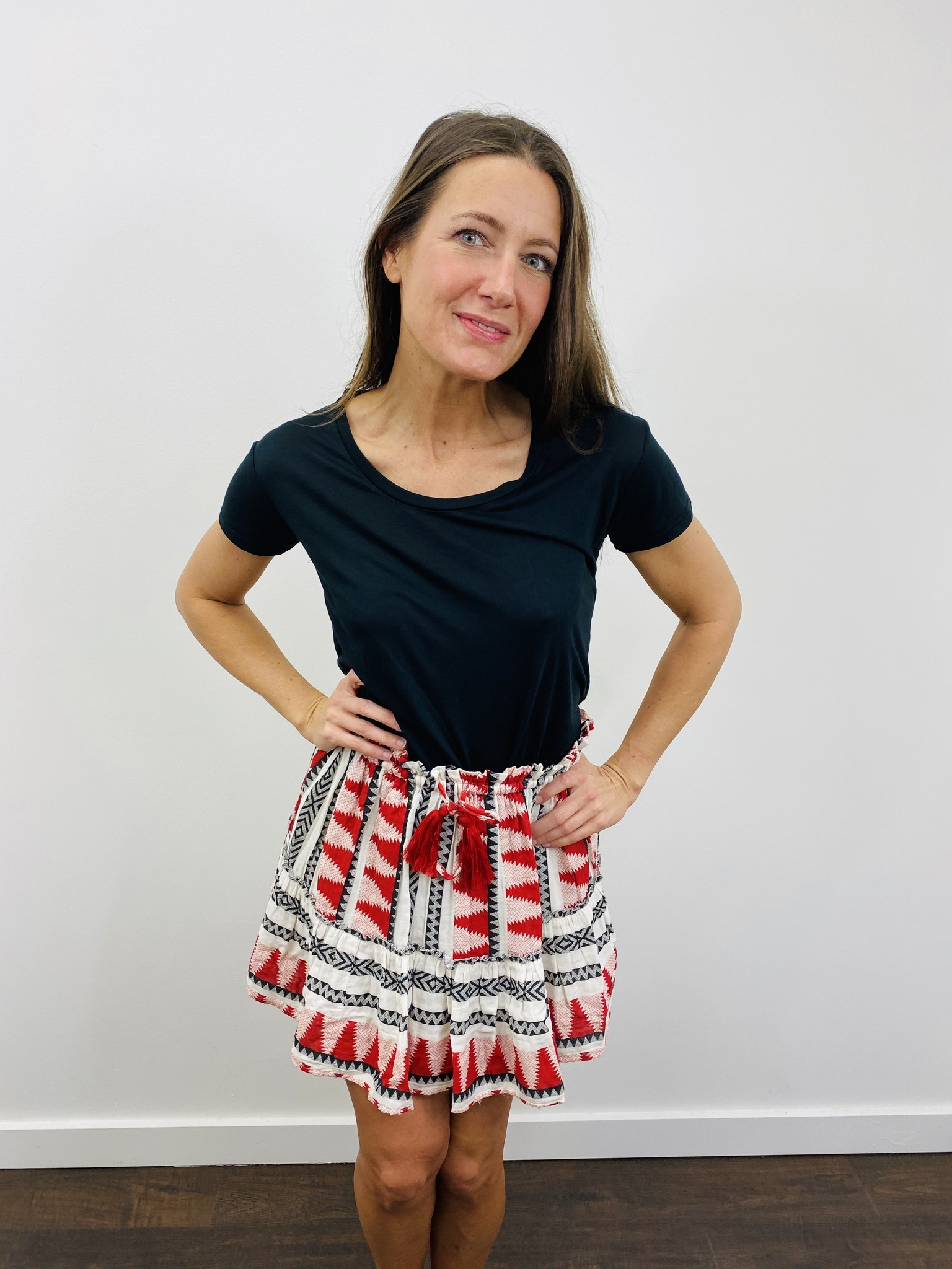 elan Red Aztec Skirt