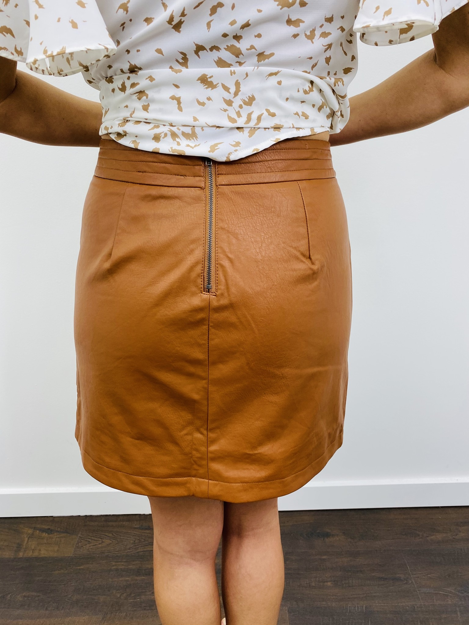KLD Faux Leather Overlapping Skirt