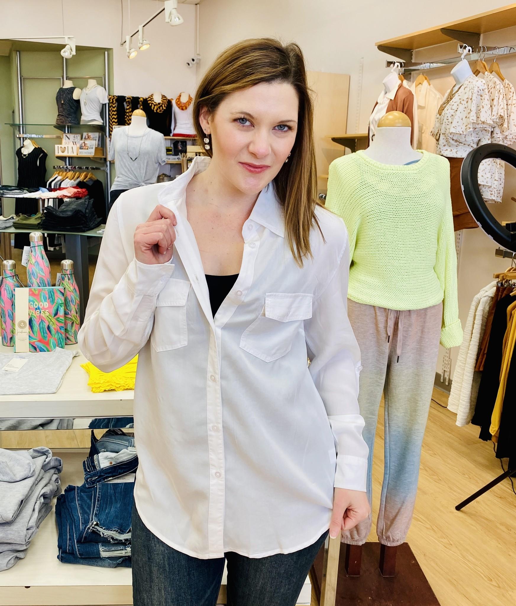 Karissa & Me Woven 2 Pocket Button Down in White