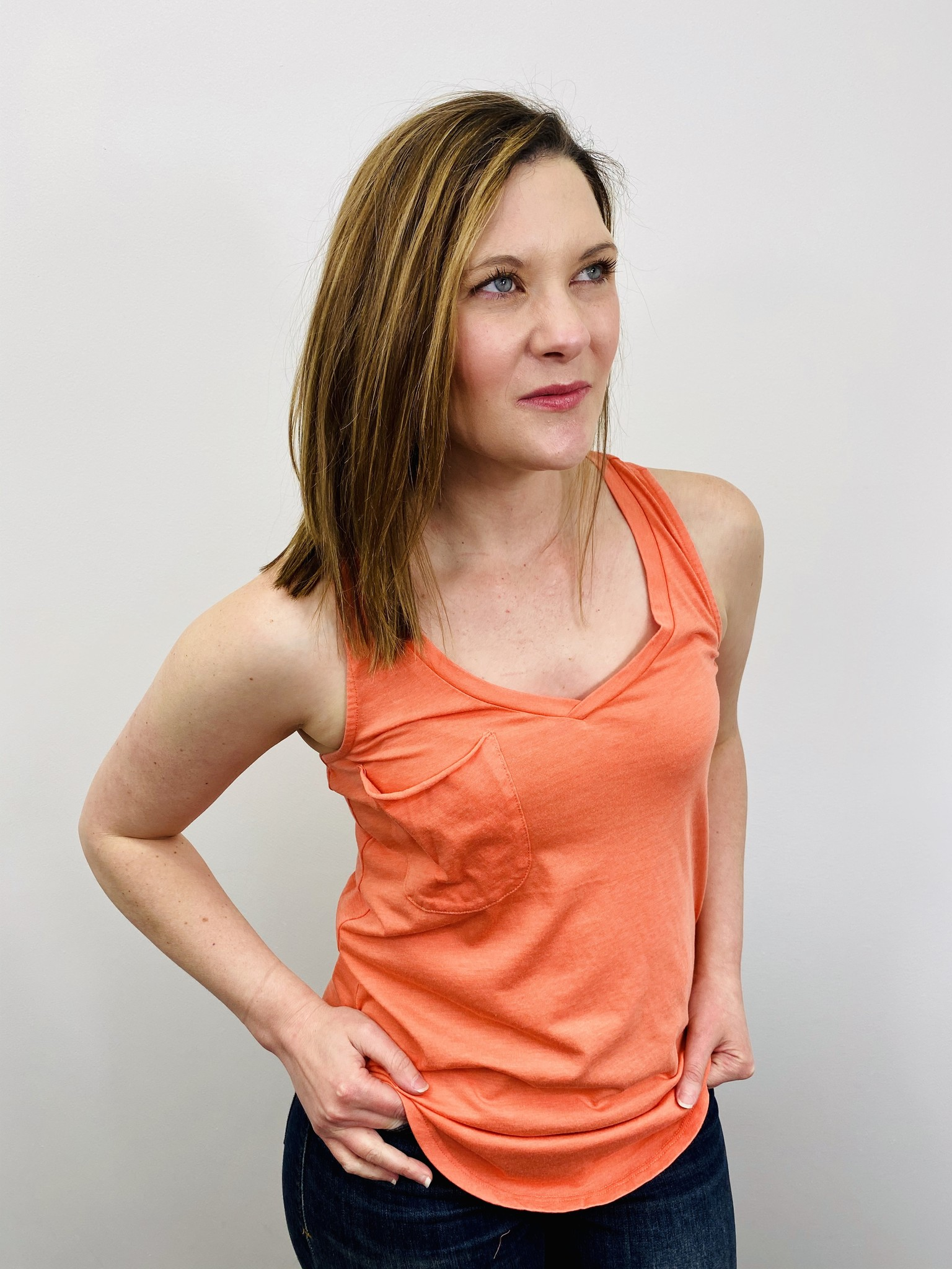 Z Supply Pocket Racer Tank in Tropical Coral