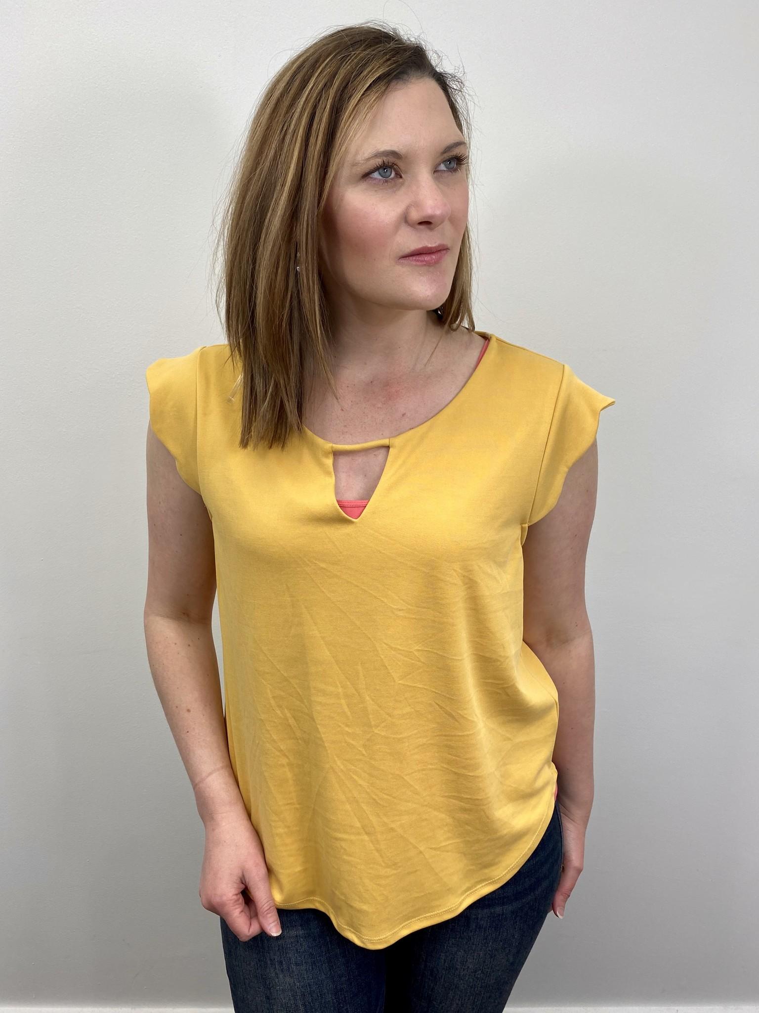 Gilli Yellow Ruffle Sleeve Detail Top