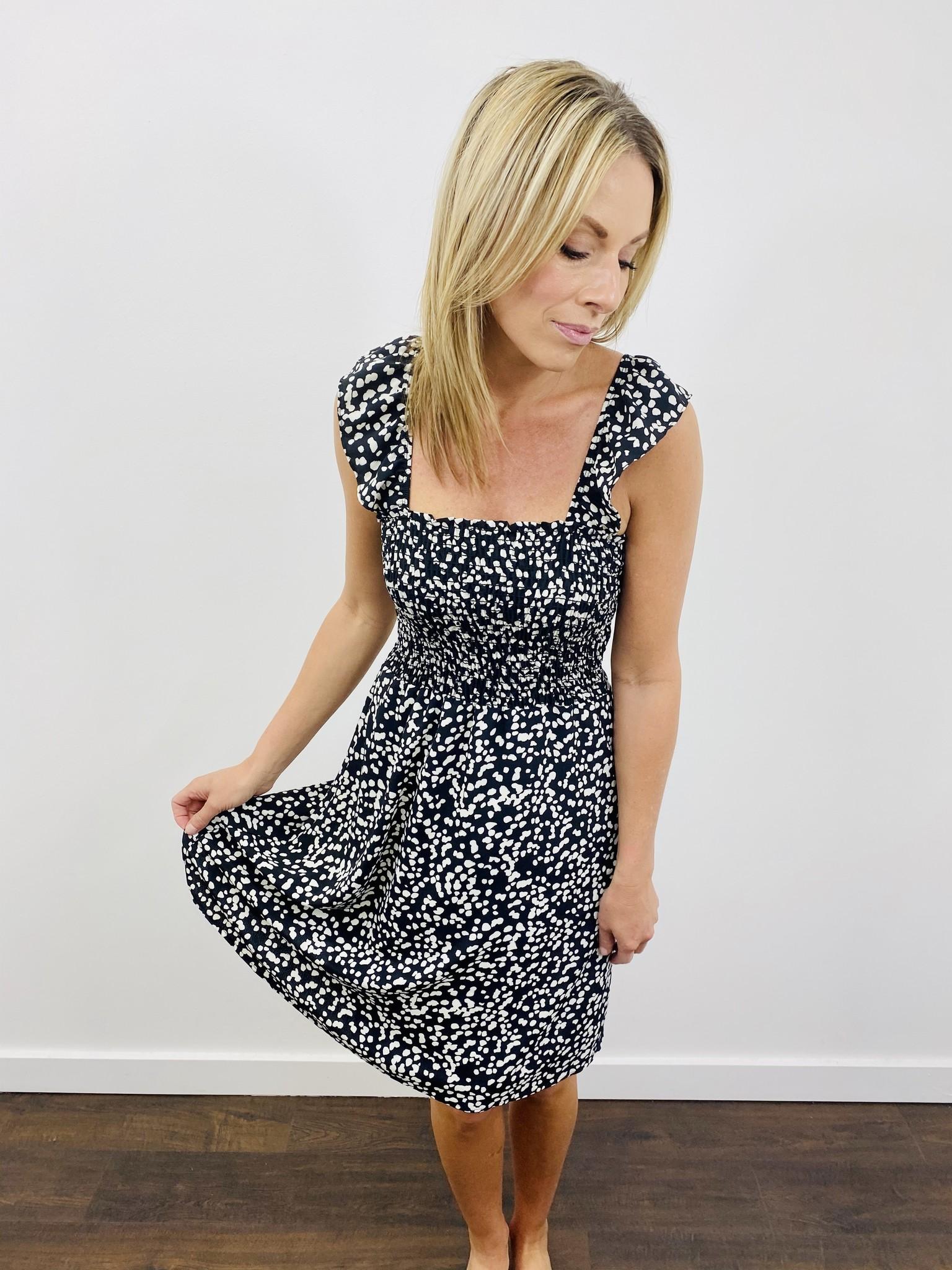 Gilli Scrunch Waist Dot Dress