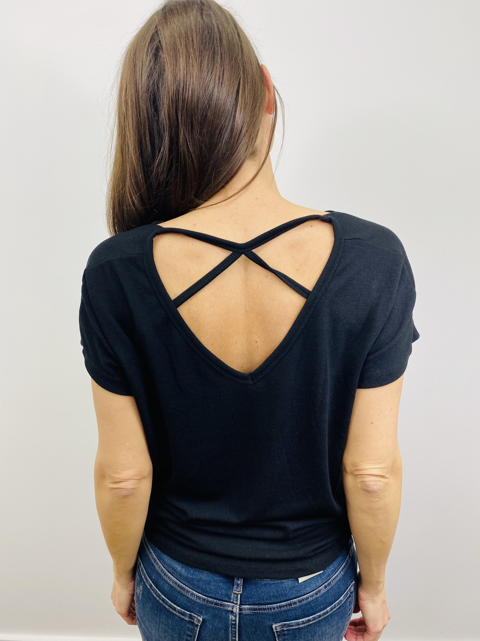 Neesha Cowl Back Top With Strap Detail in Black