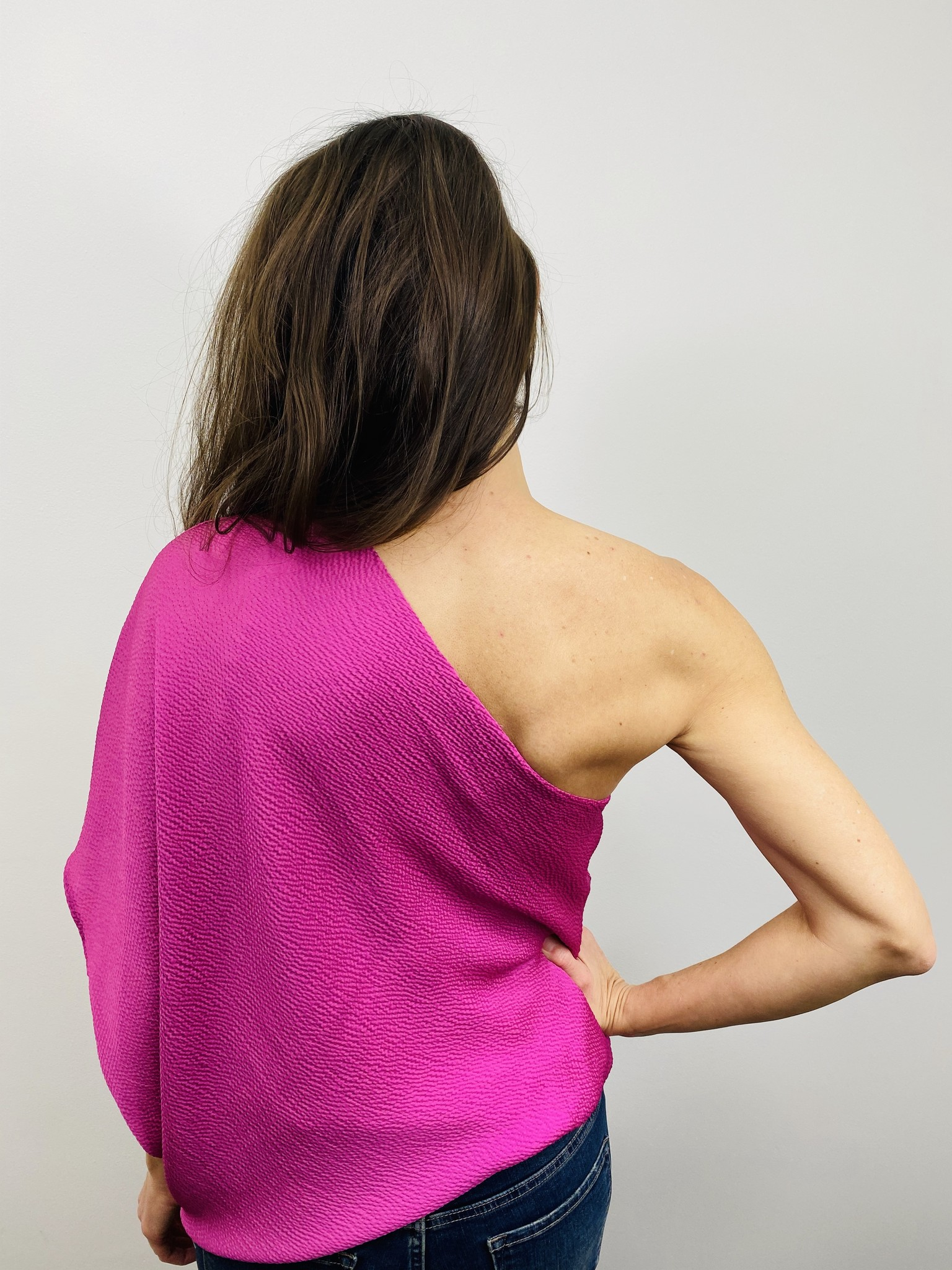 KLD One Shoulder Fuschia Top