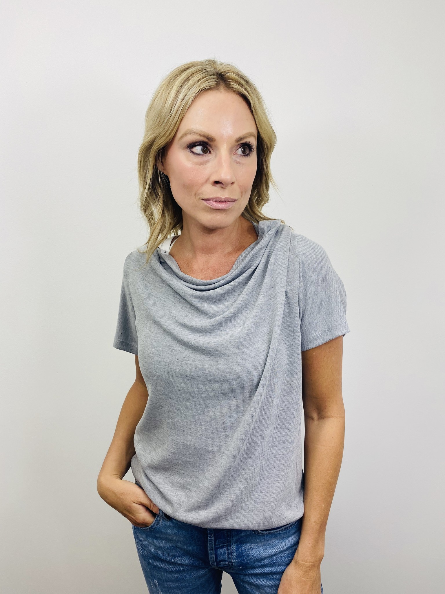 Neesha Cowl Back Top with Strap Detail in Grey