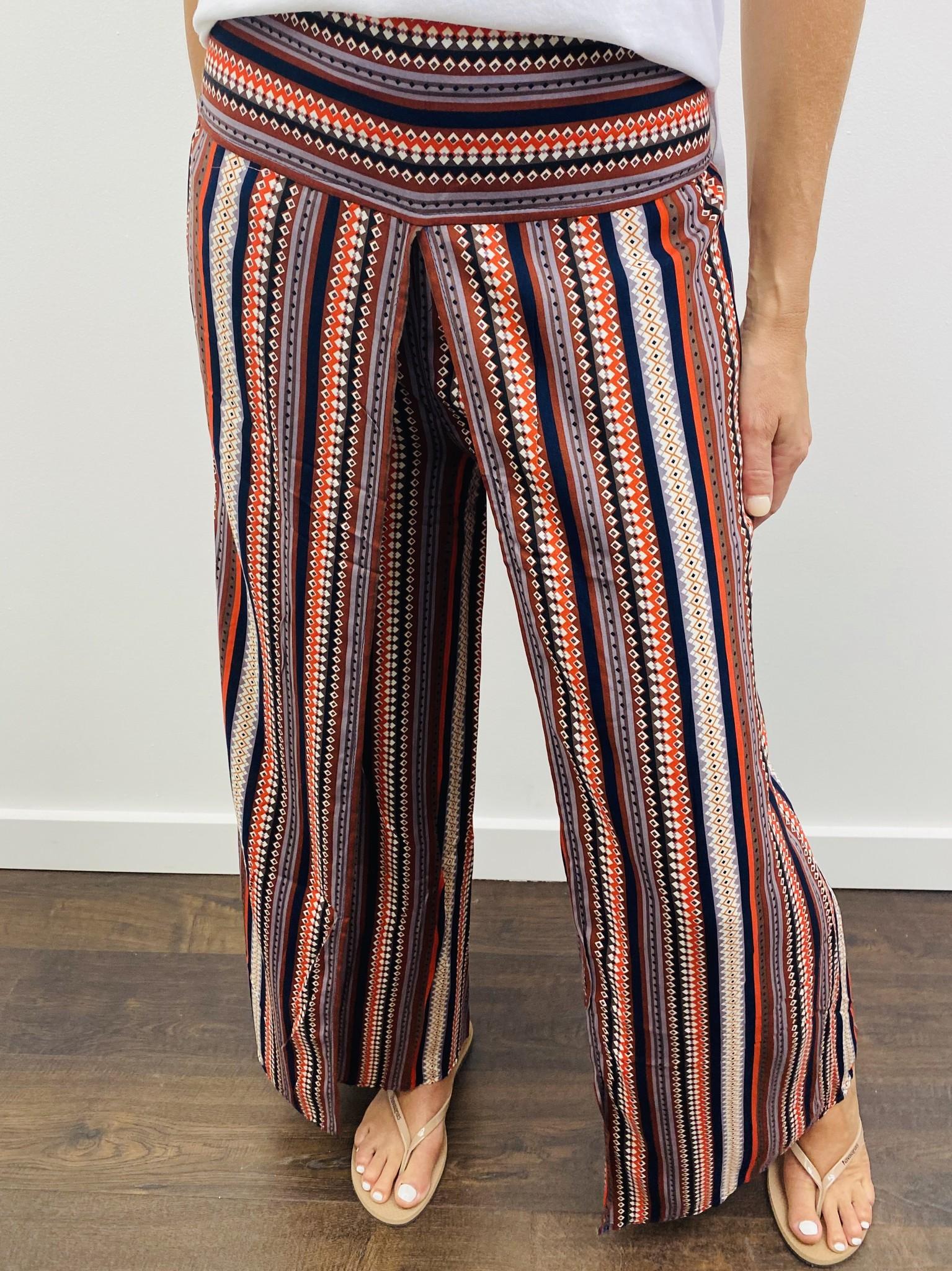 Apricot Tribal Wrap Palazzo Trousers