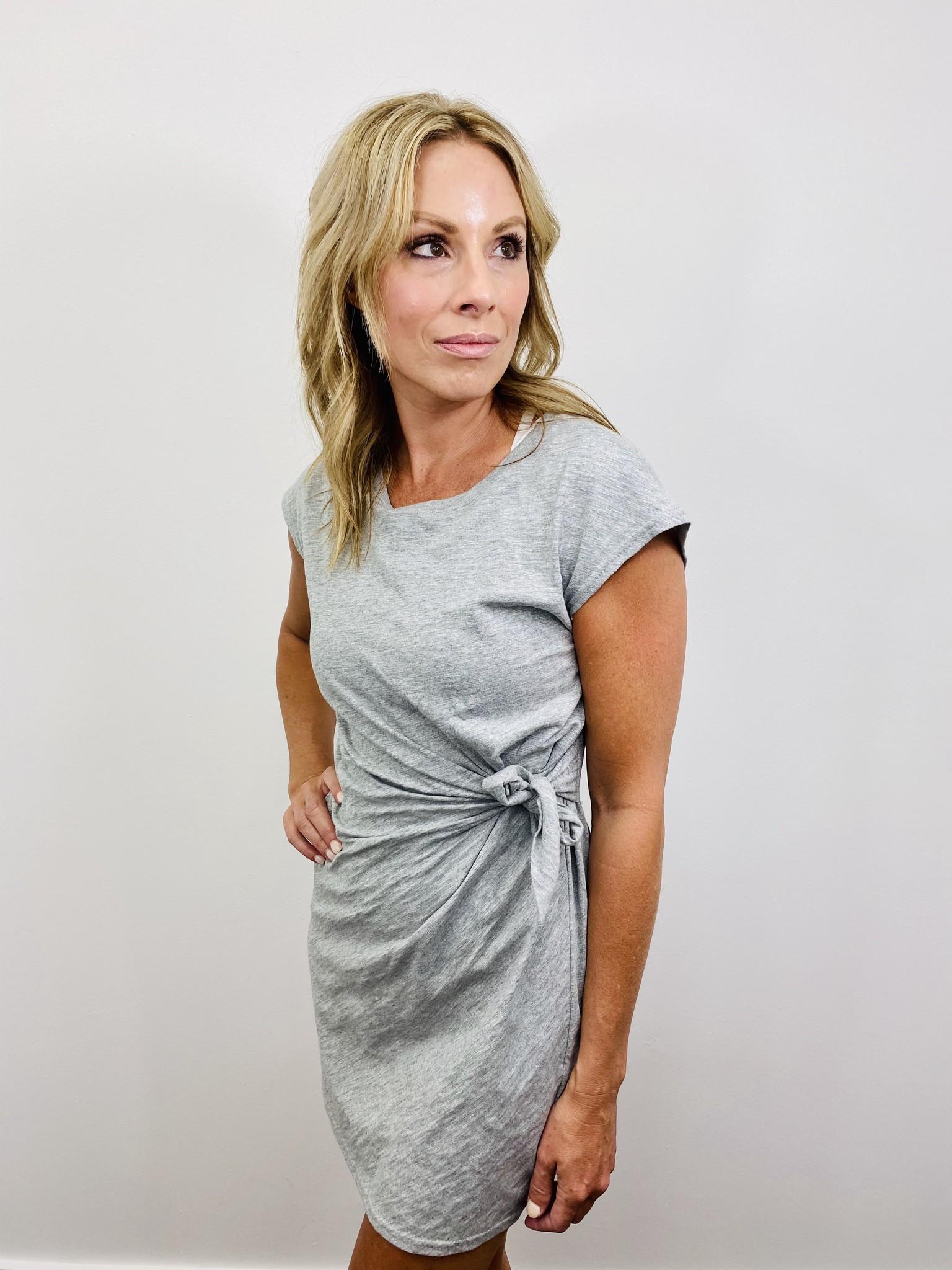 KLD Side Tie Cotton Dress in Grey