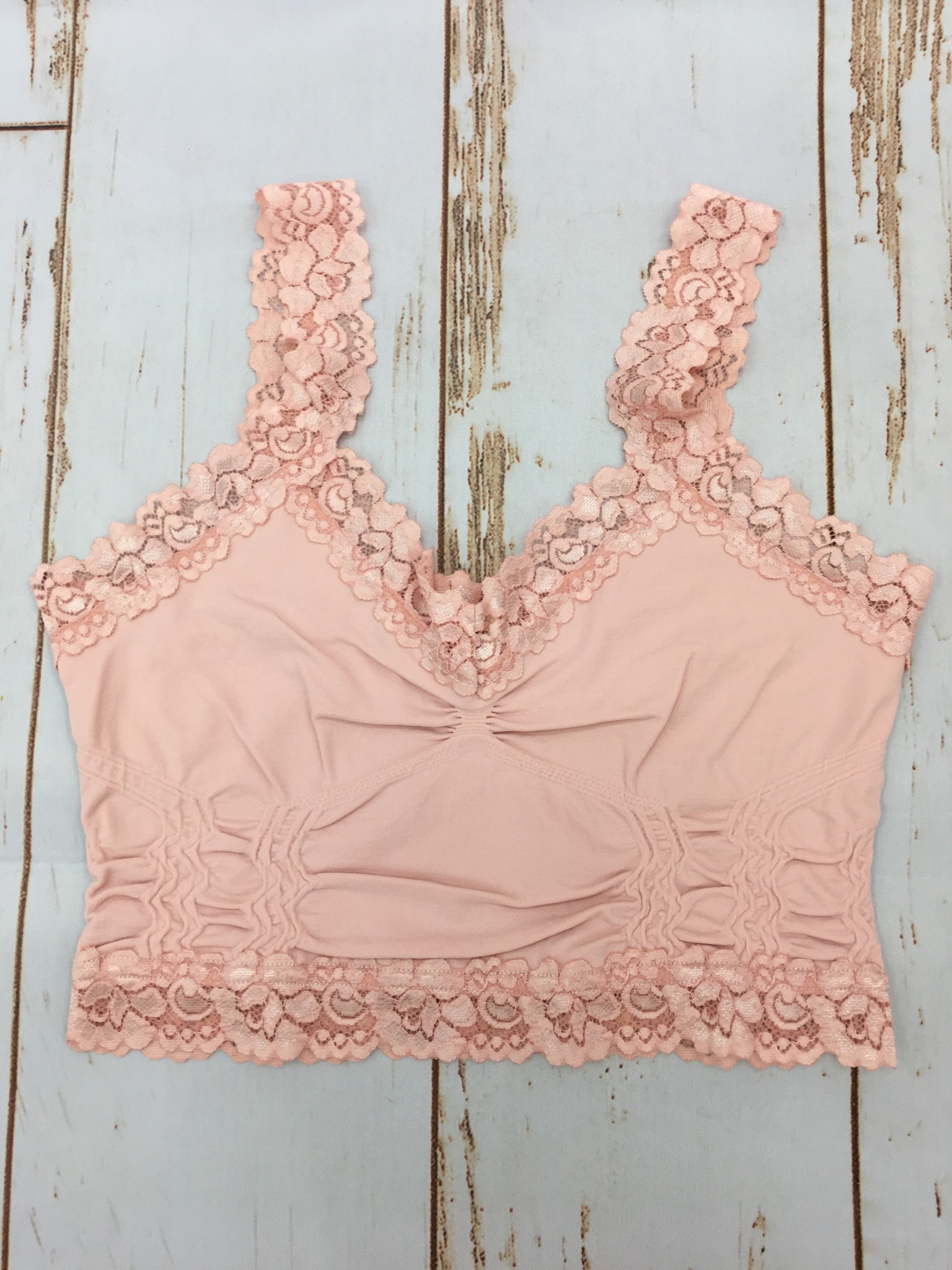 M Rena Lace Trim Bralette in Pink Sand