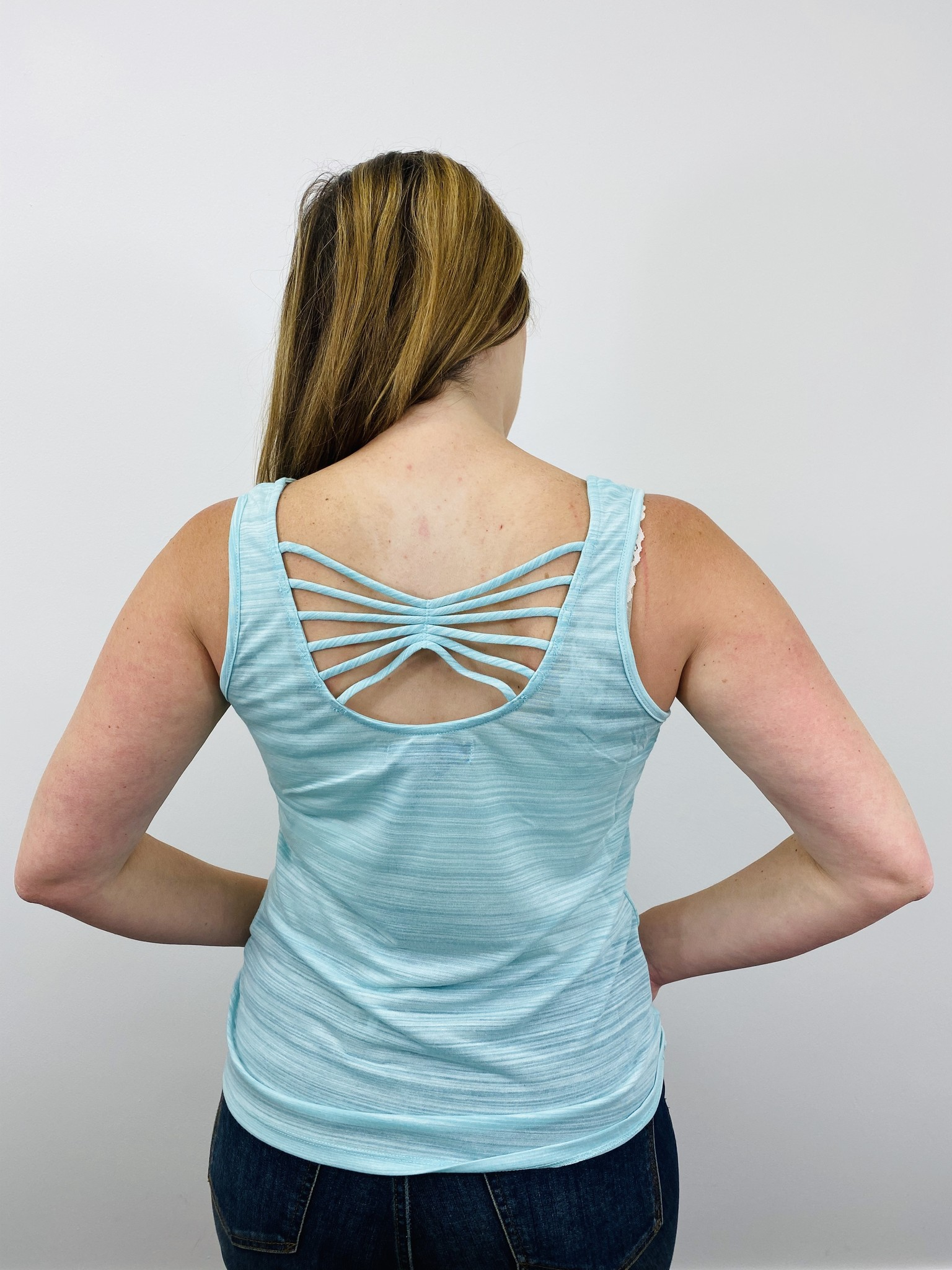 Neesha String Back Striped Tank in Mint