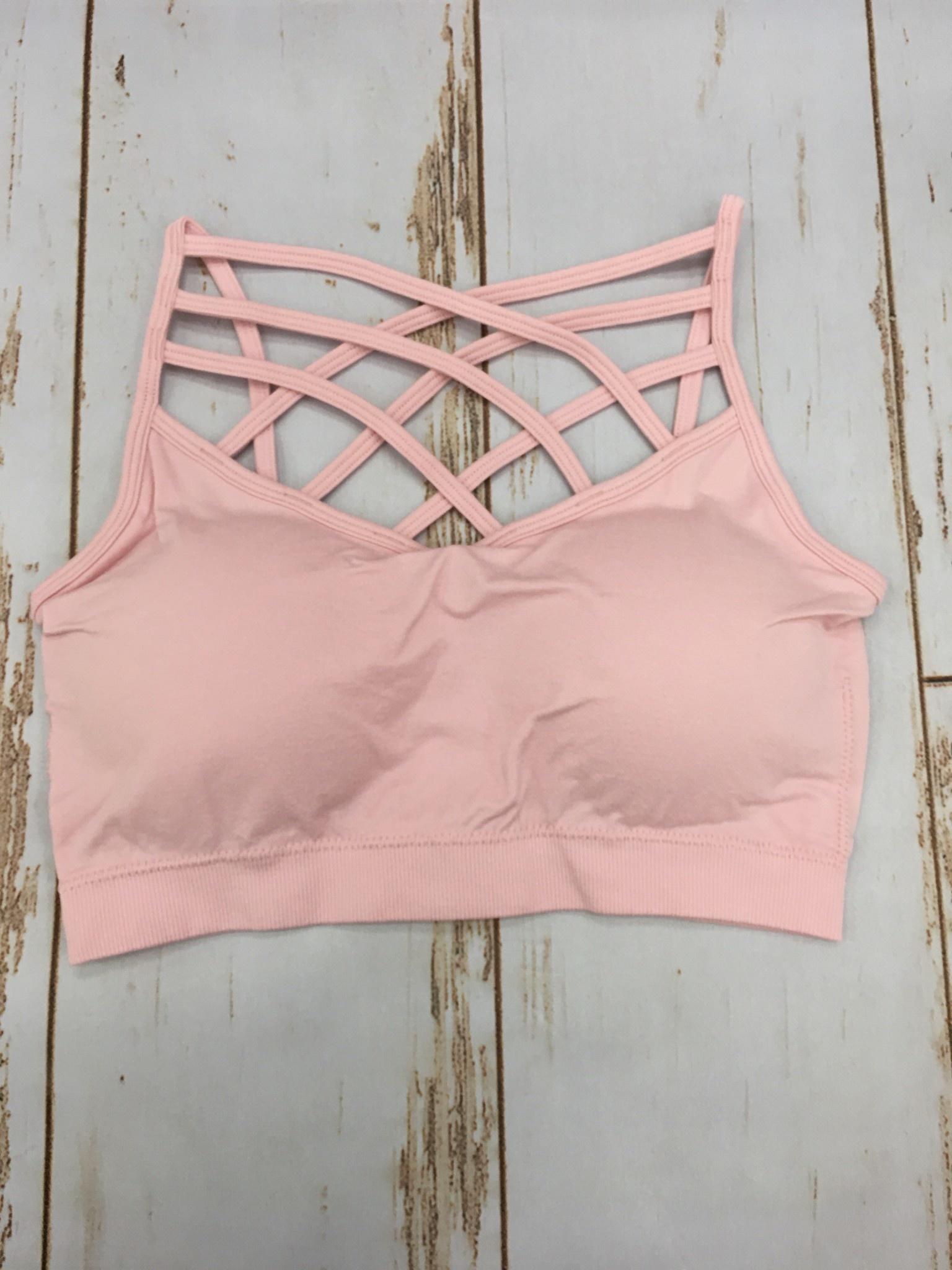 Zenana Triple Cross Bralette Dusty Pink