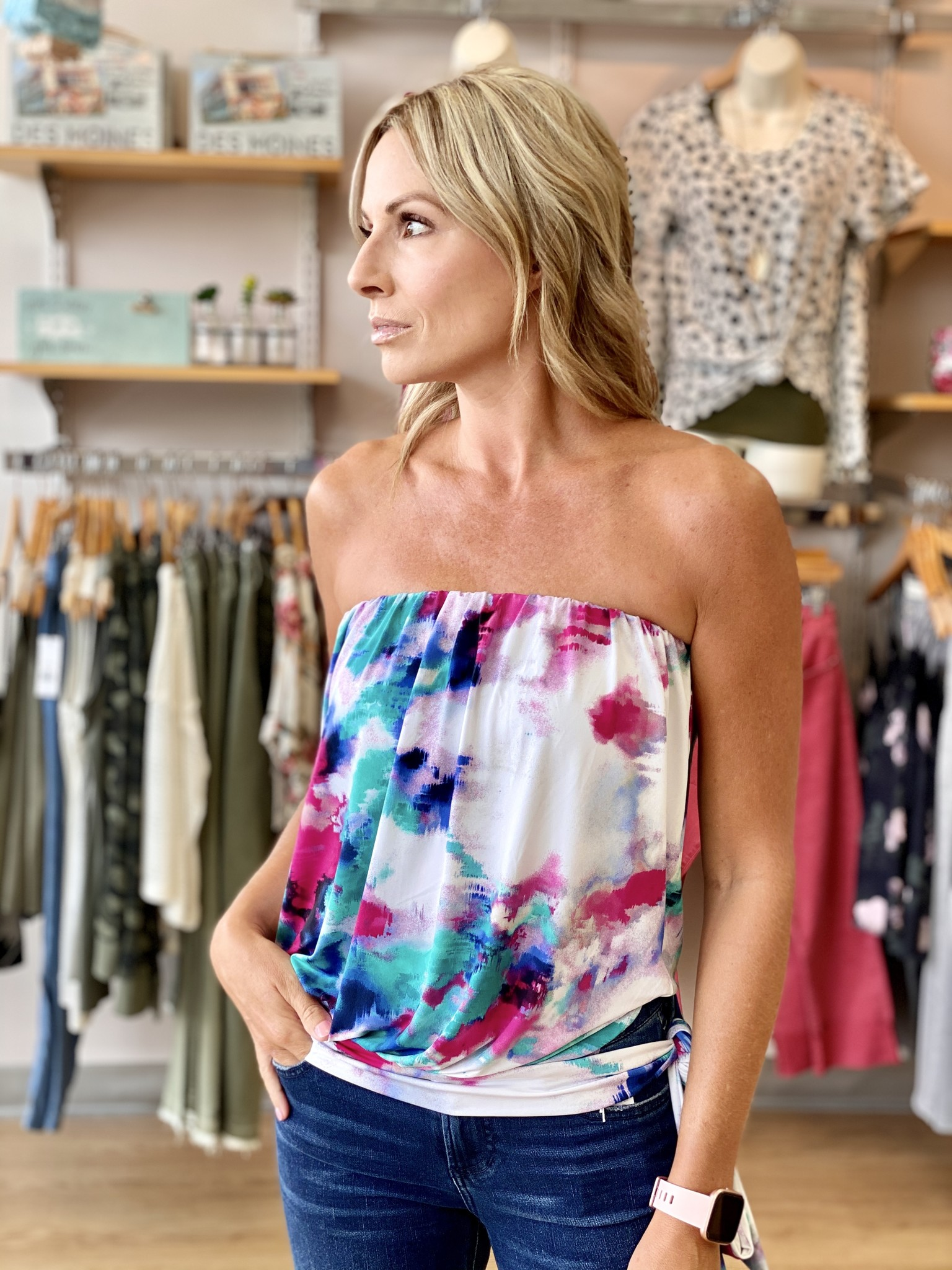 Ariella Tube Top with Tie in Tie Dye