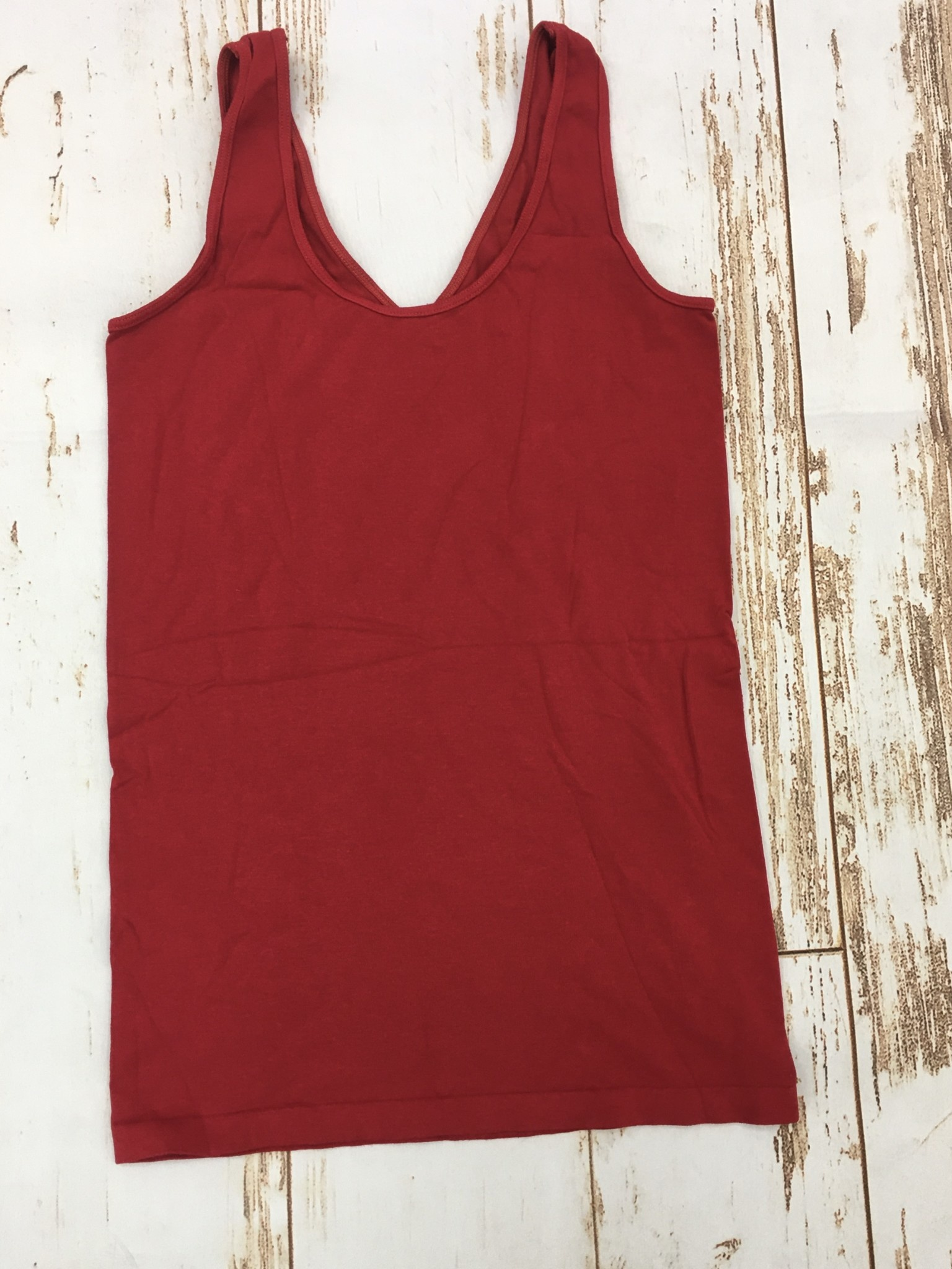 M Rena Wide Strap Reverse Tank in Red