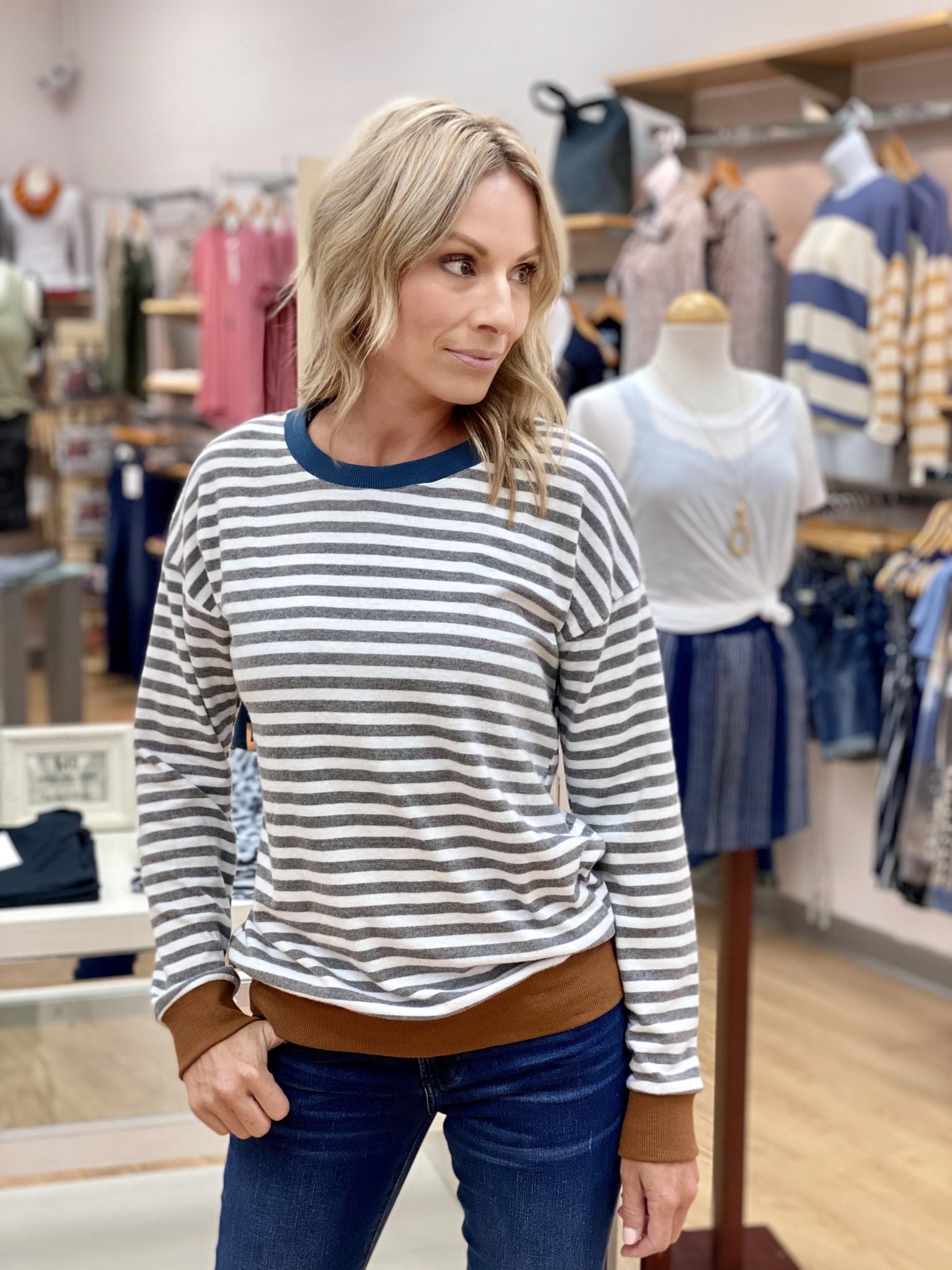 Hem & Thread Hacci Stripe Pullover