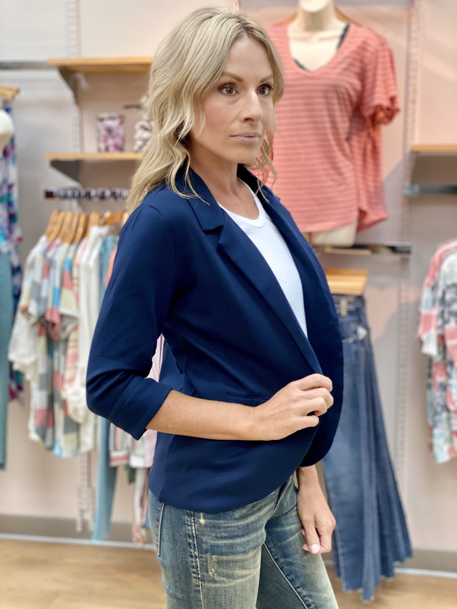 Survival Navy Boyfriend Blazer