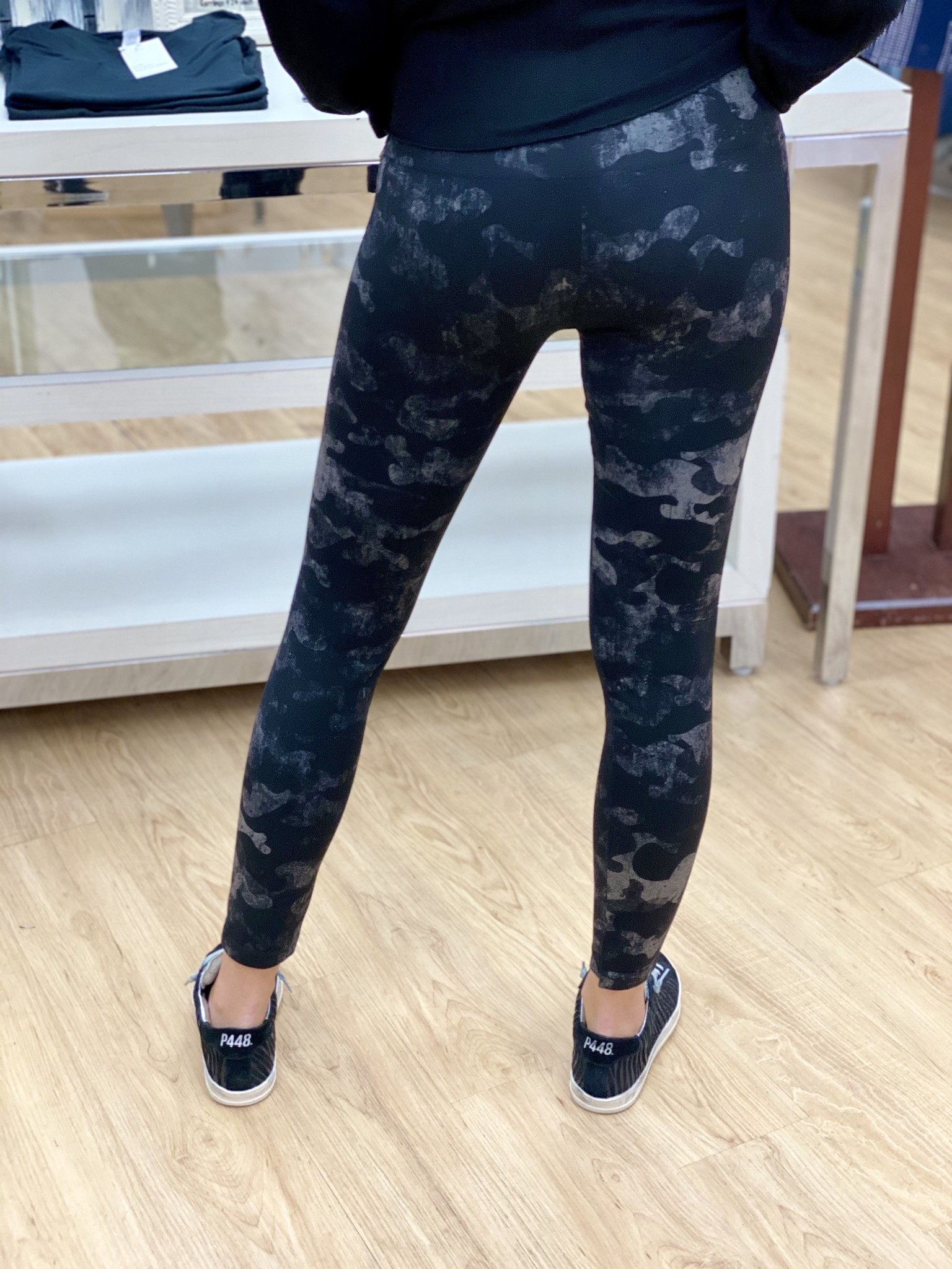 M.Rena High Waist Full Length Legging w/ Distressed Camo
