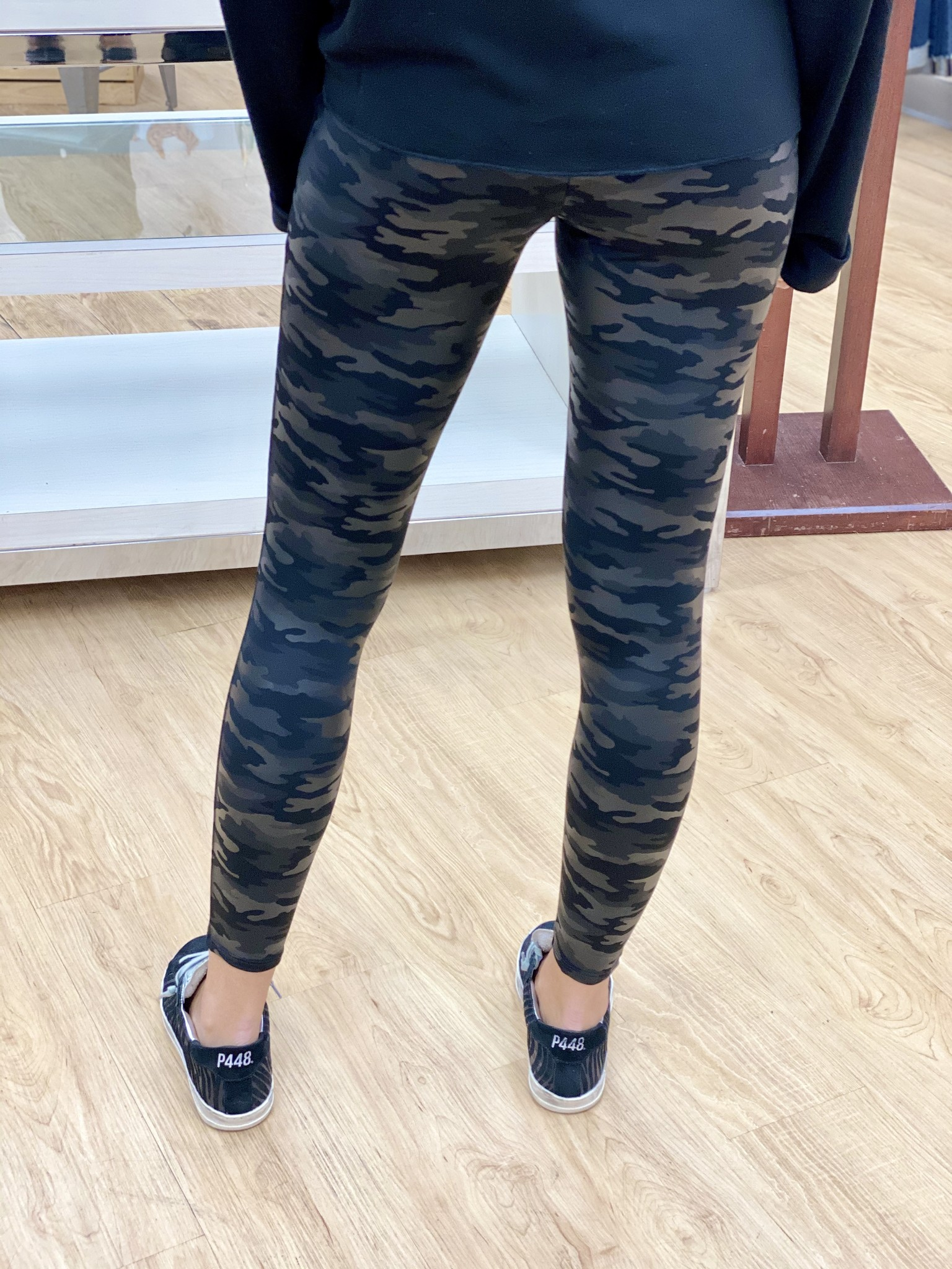M.Rena High Waisted Full Length Camo Faux Leather Legging