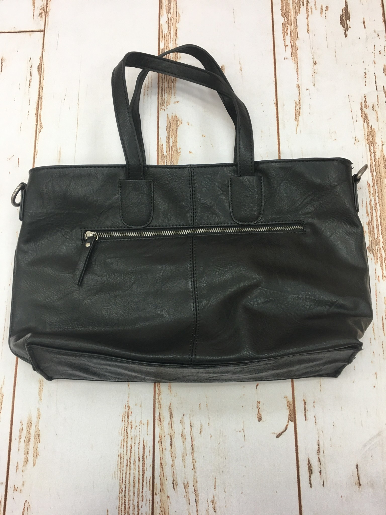 Joy Accessories Black Michele Mid Size Zip Top Convertible Tote