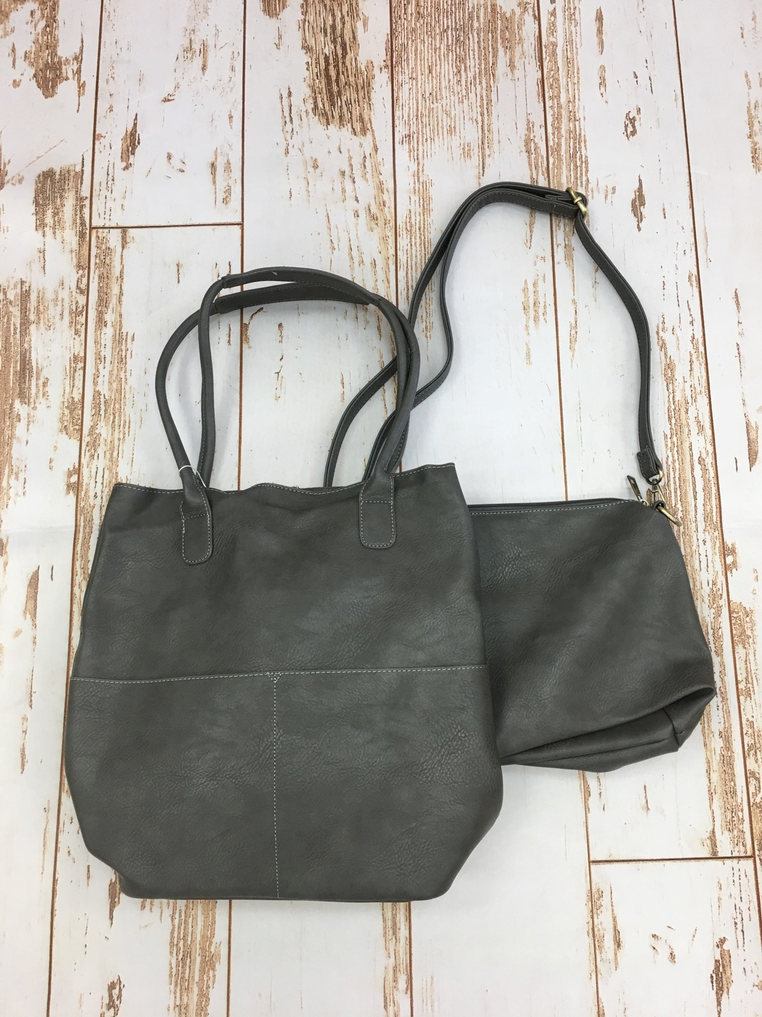 Joy Accessories Charcoal Kelly Front Pocket Tote