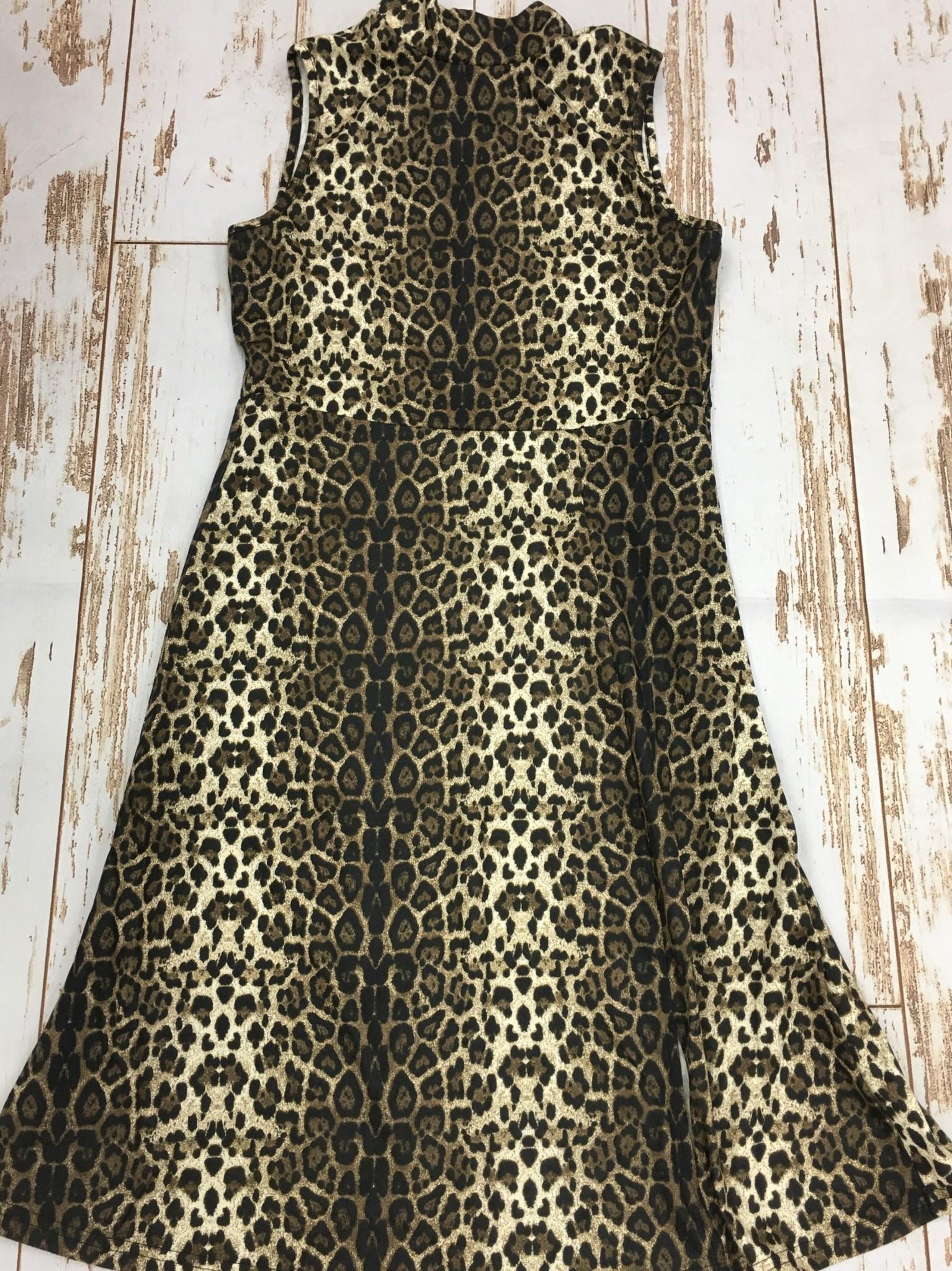 Papillon Leopard Print Mock Neck Midi Dress