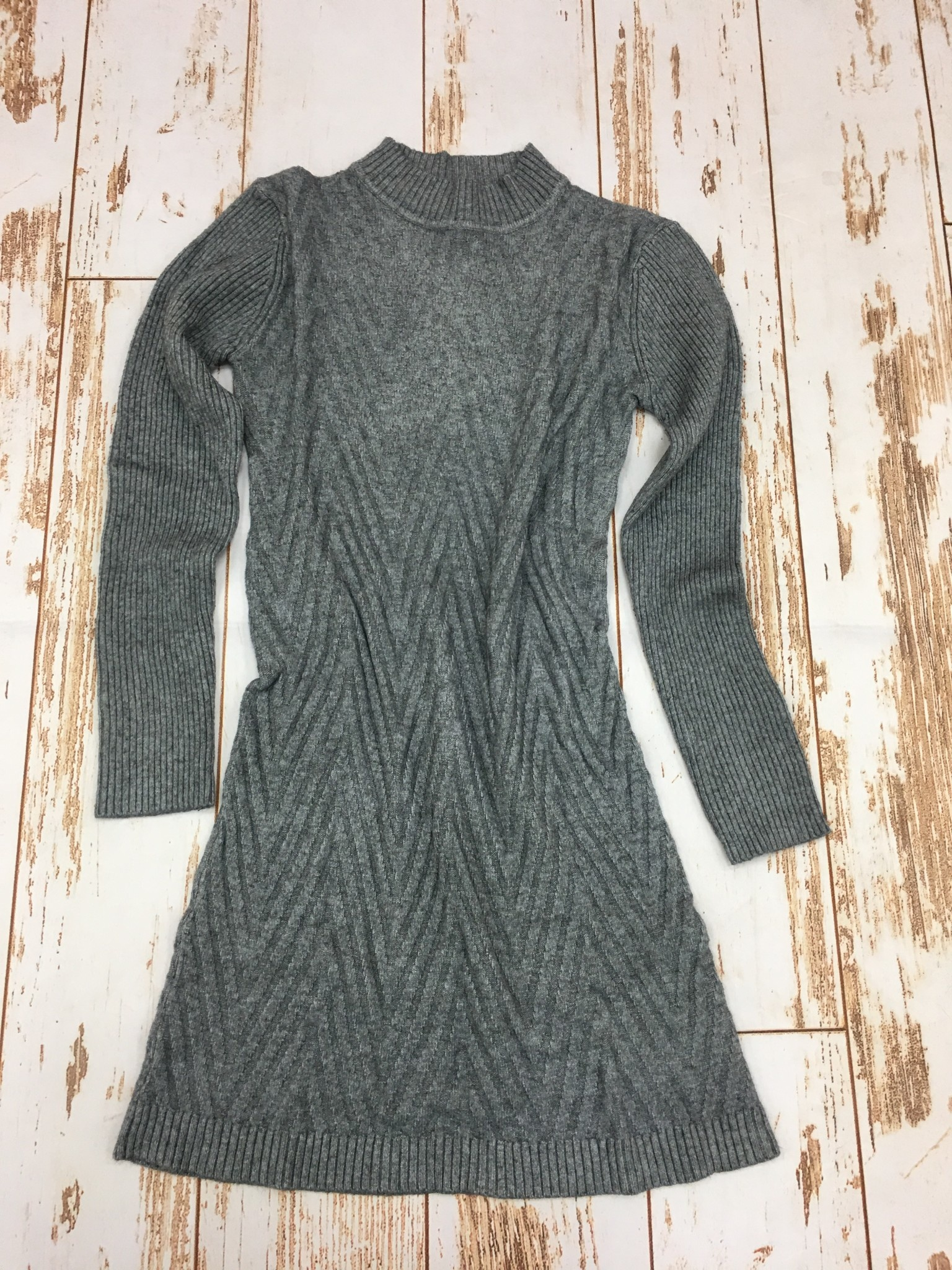 Papillon Mock Neck Sweater Dress in Grey