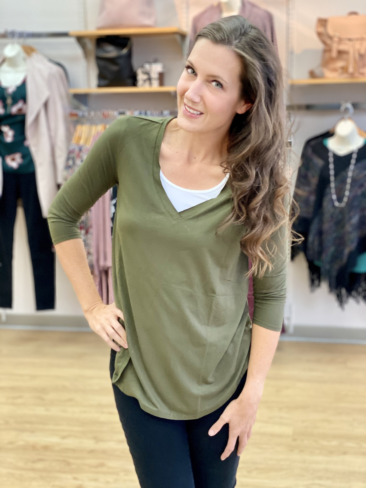 Survival Bergman 3/4 Sleeve Tee in Army Green