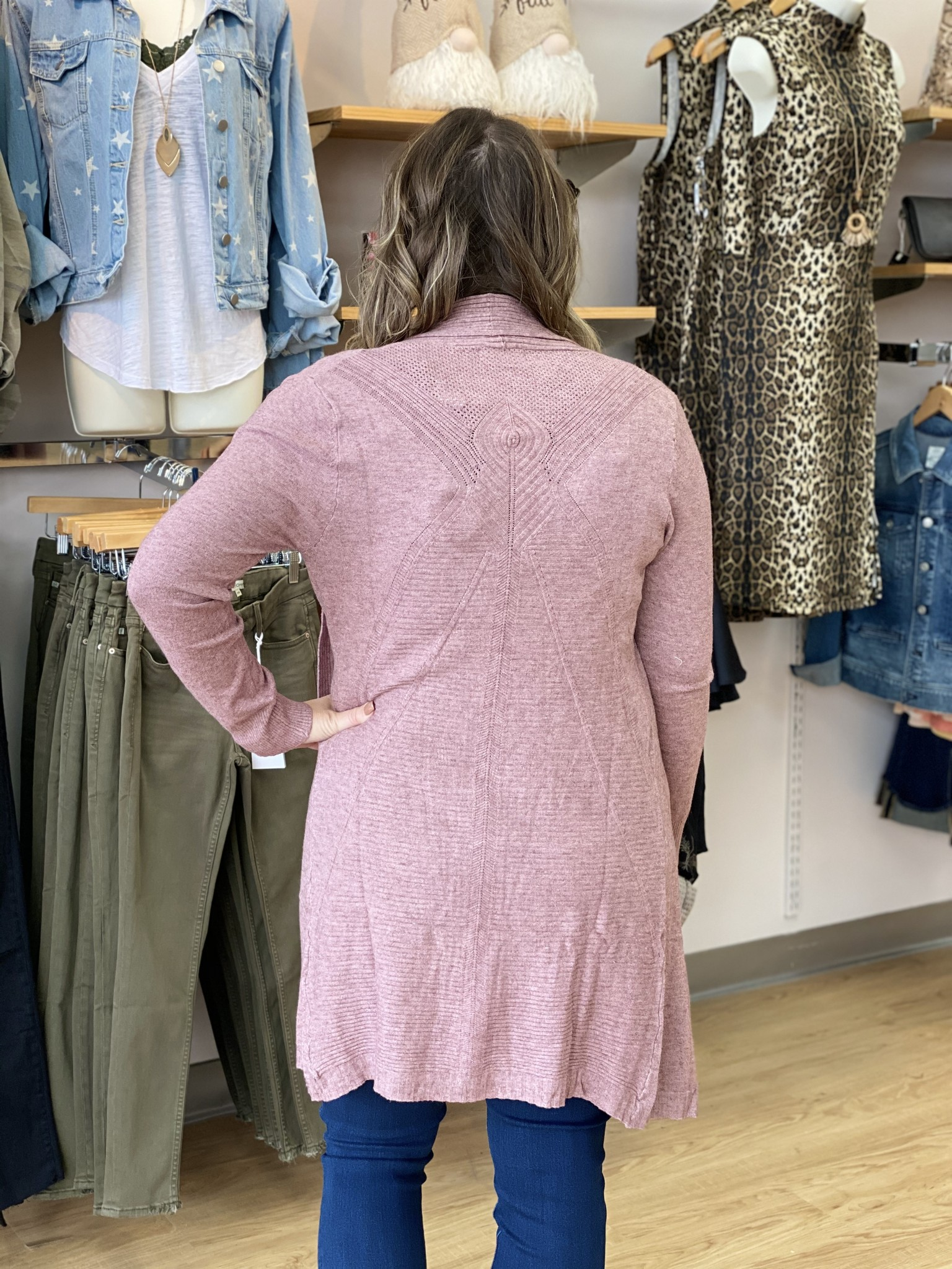 Papillon Ribbed Cardigan in Rose