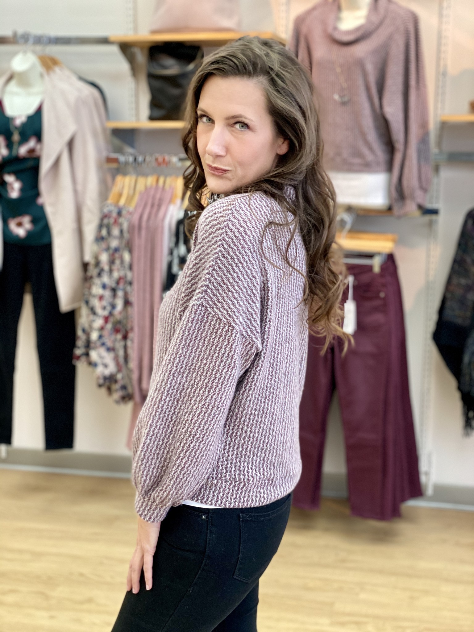 Papillon Heathered Soft Brushed Sweater in Wine