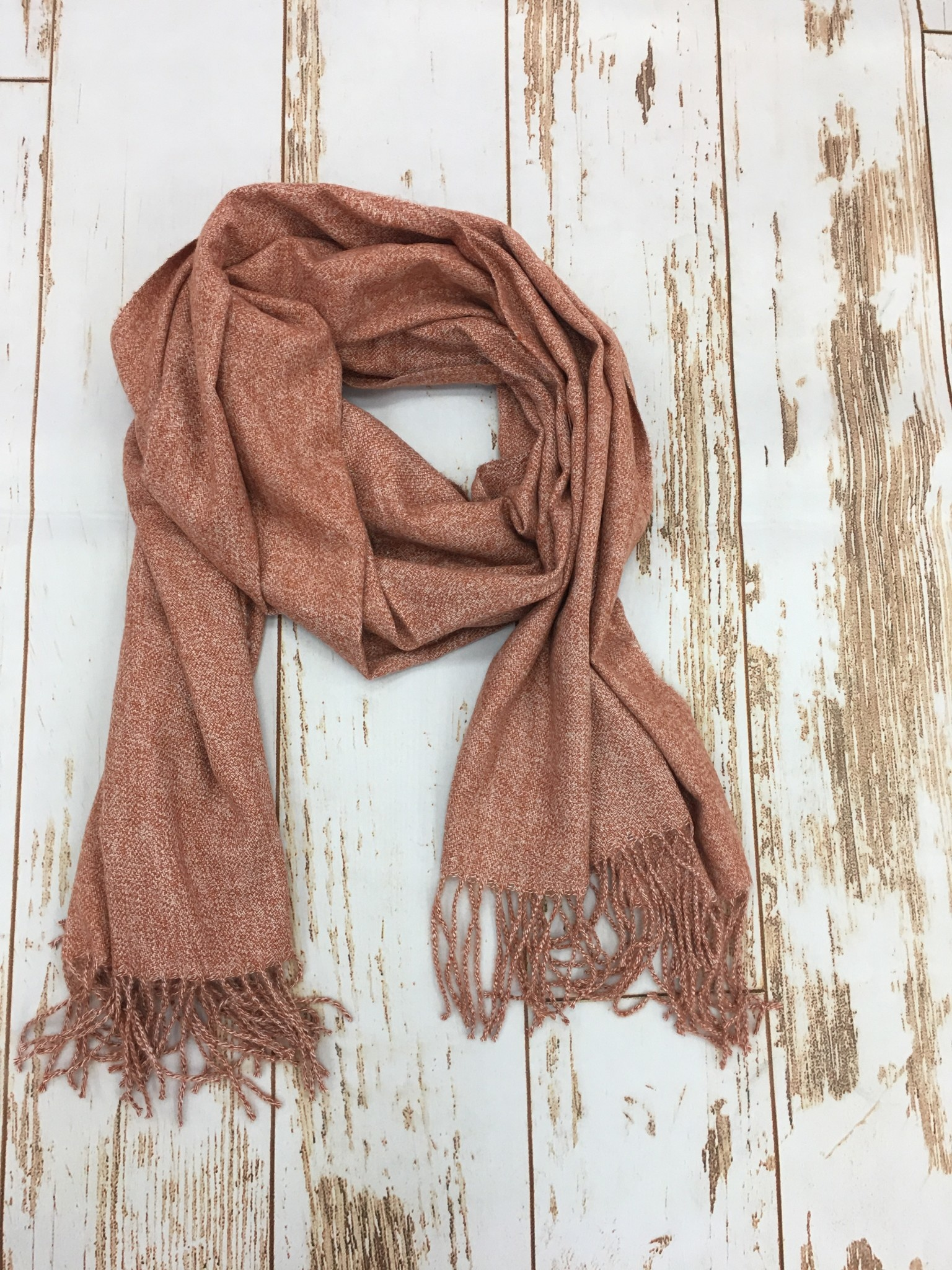 Joy Accessories Heathered Orange Fringe Scarf