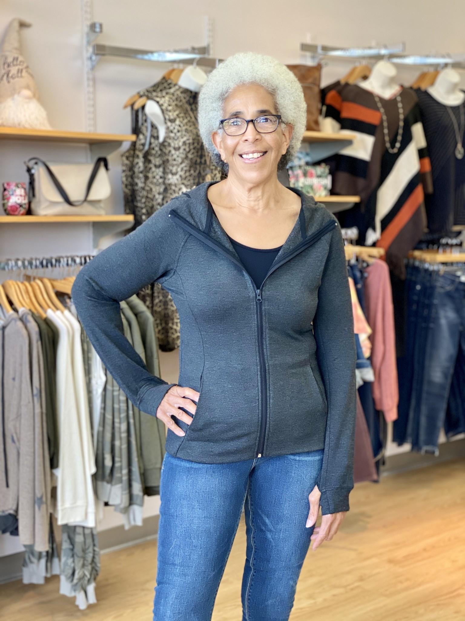 Karissa & Me Luxury Tri Blend Full Zip Hoodie in Black