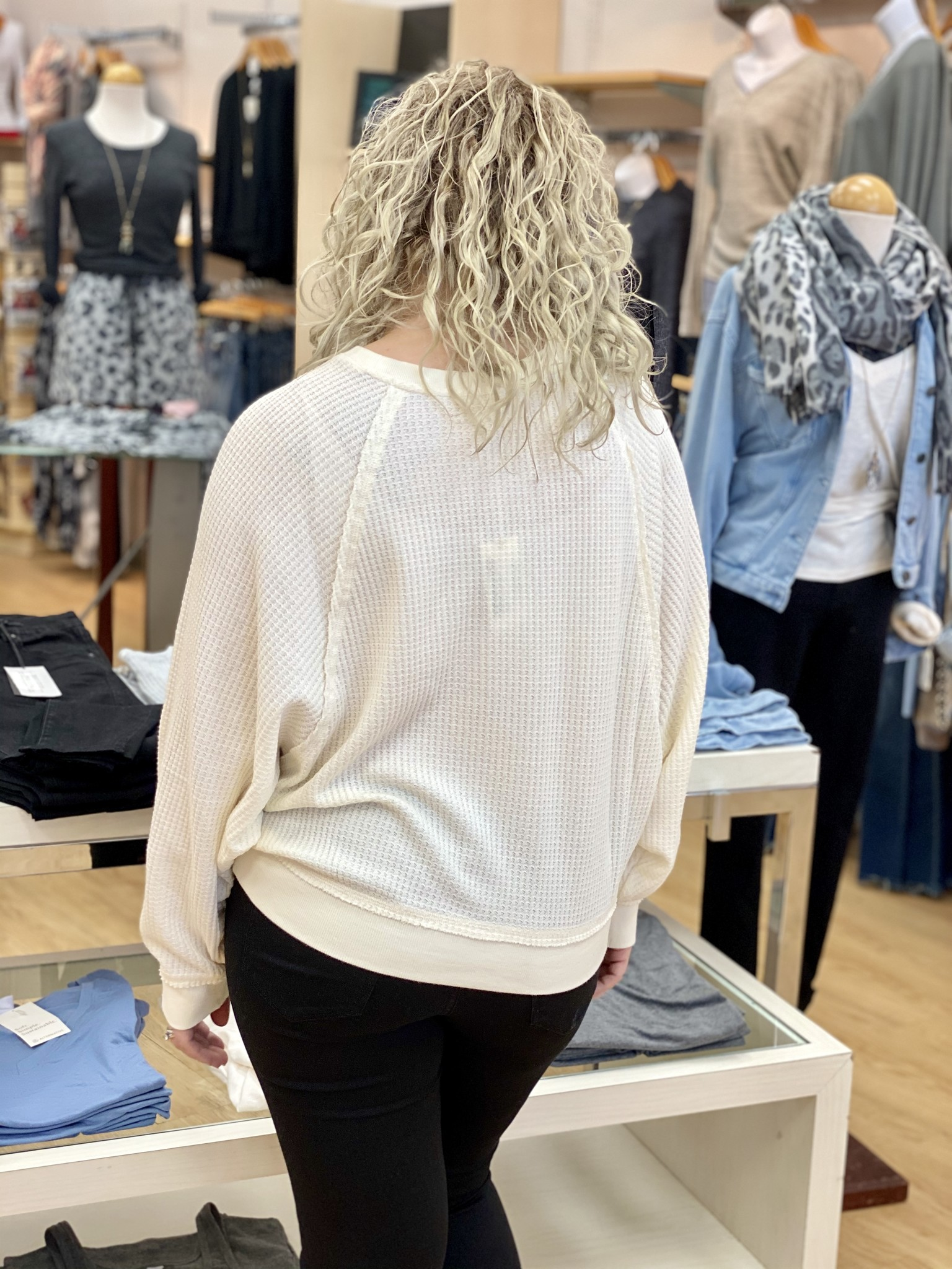 Z Supply Claire Waffle Long Sleeve in Bone