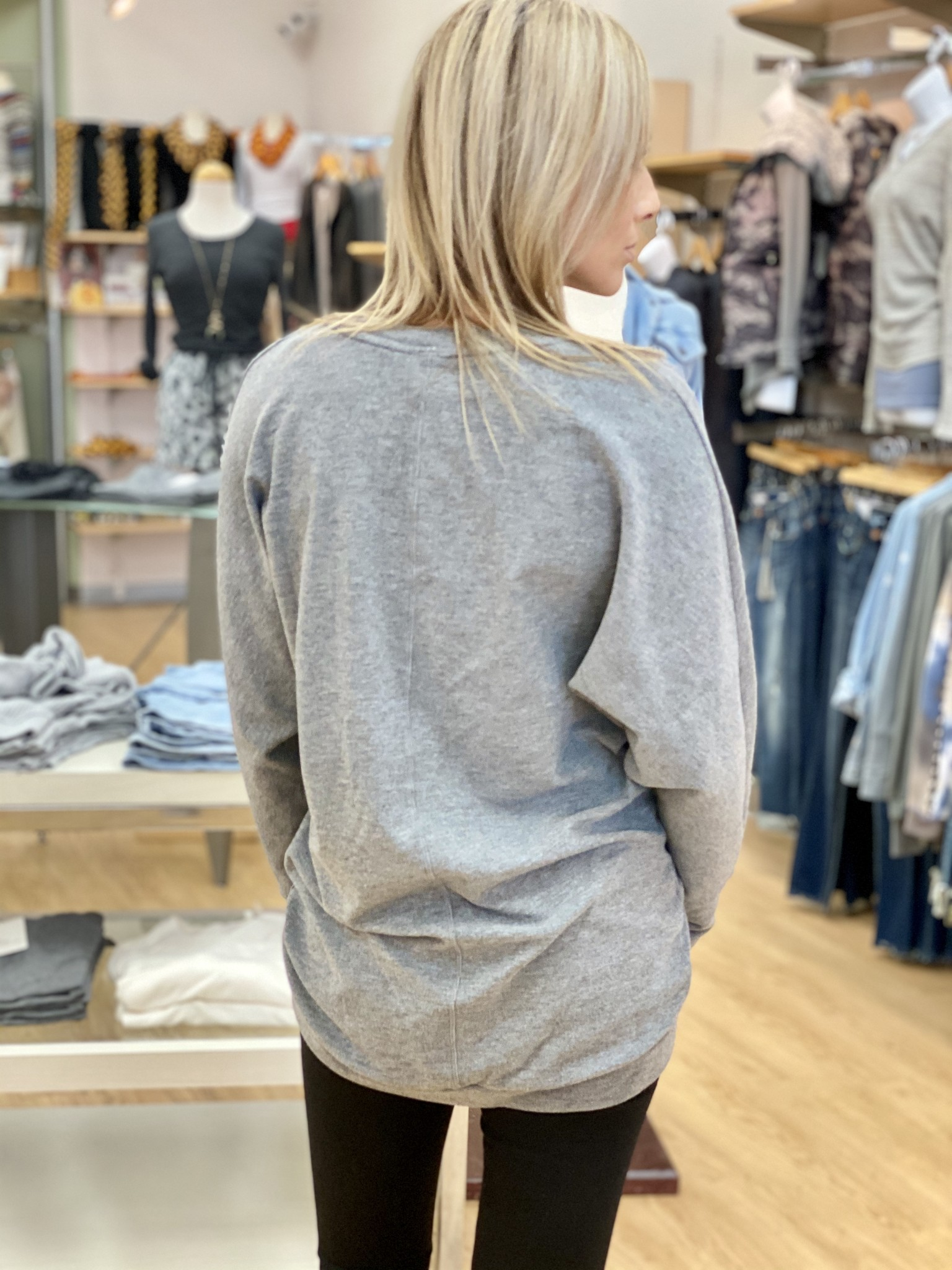 Bobi High Low Comfy Dolman Sweatshirt